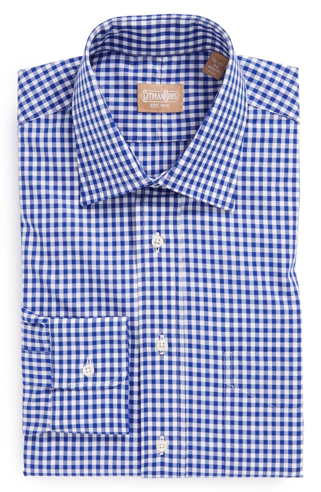 Regular Fit Cotton Gingham English Spread Collar Dress Shirt,                             Main thumbnail 1, color,                             Blue