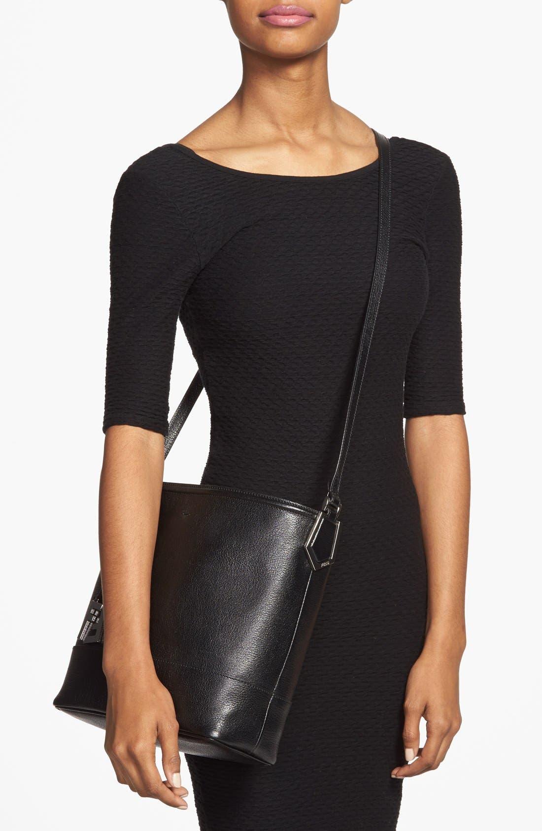 Leather Bucket Crossbody Bag,                             Alternate thumbnail 2, color,                             Black/ Palladium