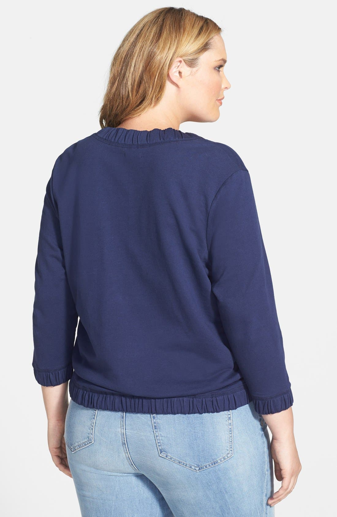 Alternate Image 2  - Caslon® Front Zip Terry Jacket (Plus Size)