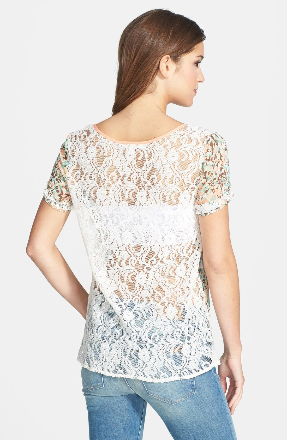 Alternate Image 2  - Miss Me Lace Back Floral Print Top