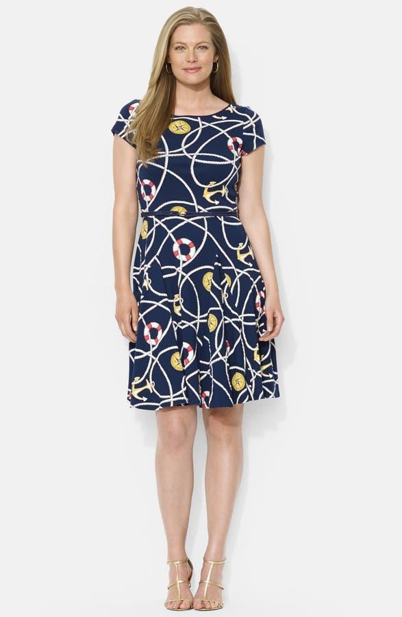 Lauren Ralph Lauren Belted Print Cotton Fit Flare Dress Plus Size