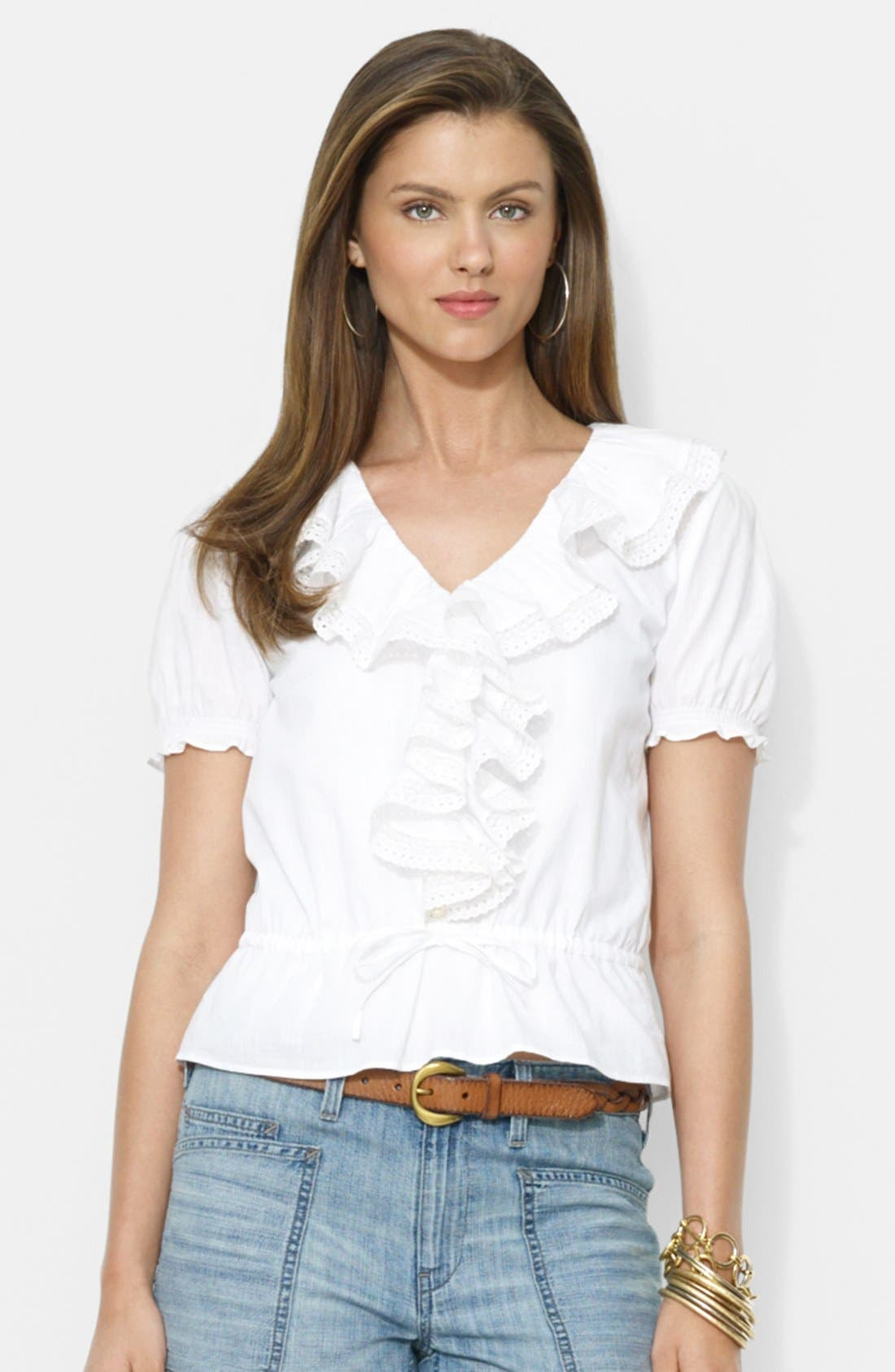 Alternate Image 1 Selected - Lauren Ralph Lauren Ruffle Front V-Neck Blouse