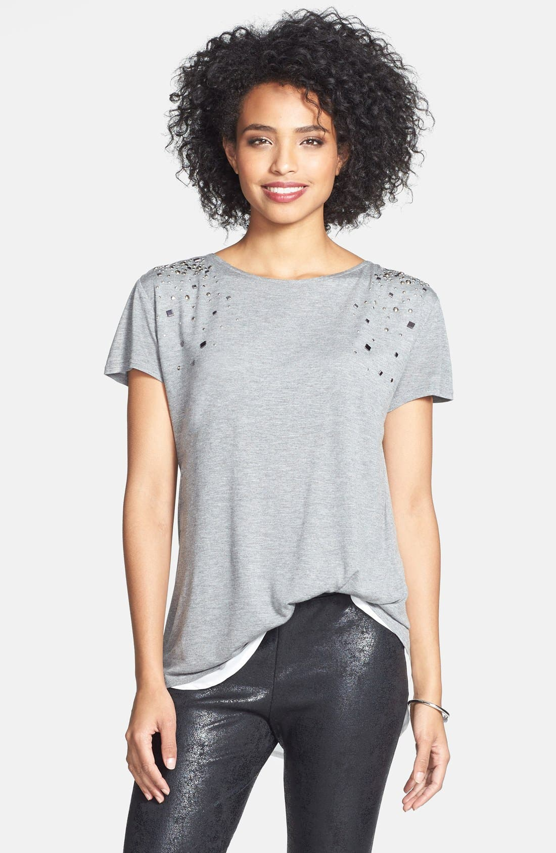 Main Image - Two by Vince Camuto Embellished Jersey & Chiffon Tee