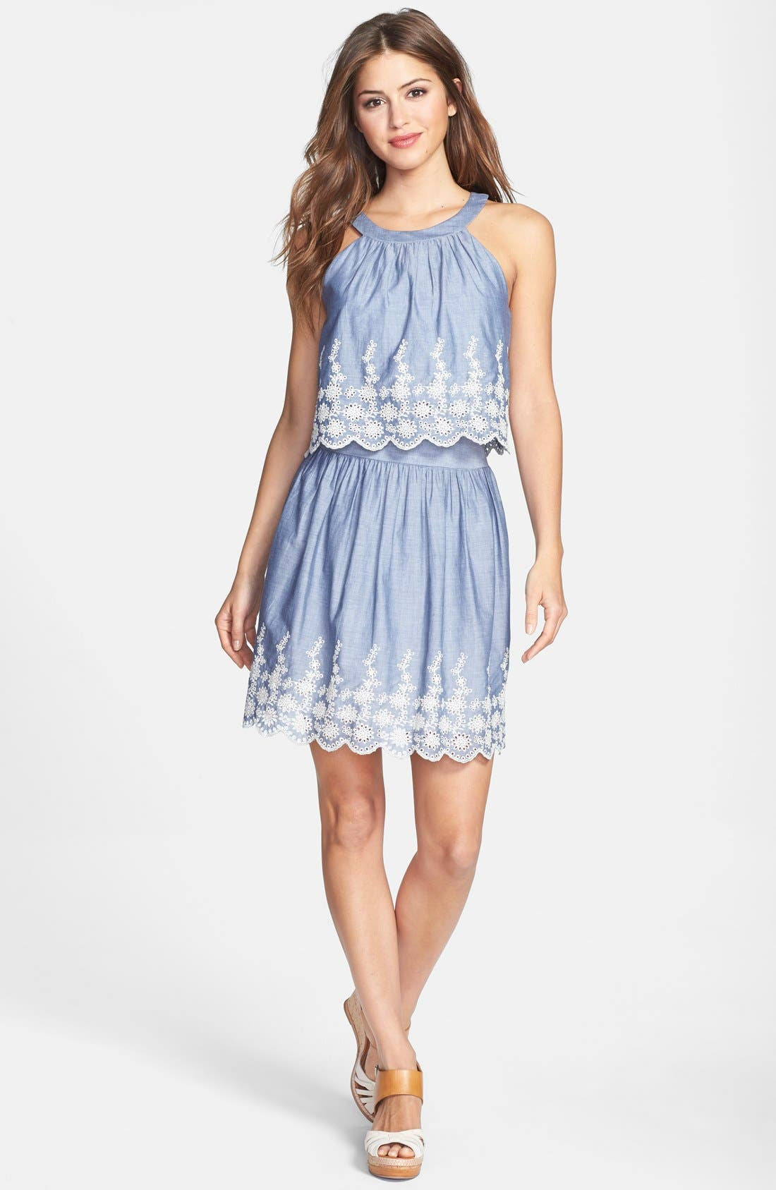Alternate Image 3  - Ivy & Blu Embroidered Chambray Popover Dress