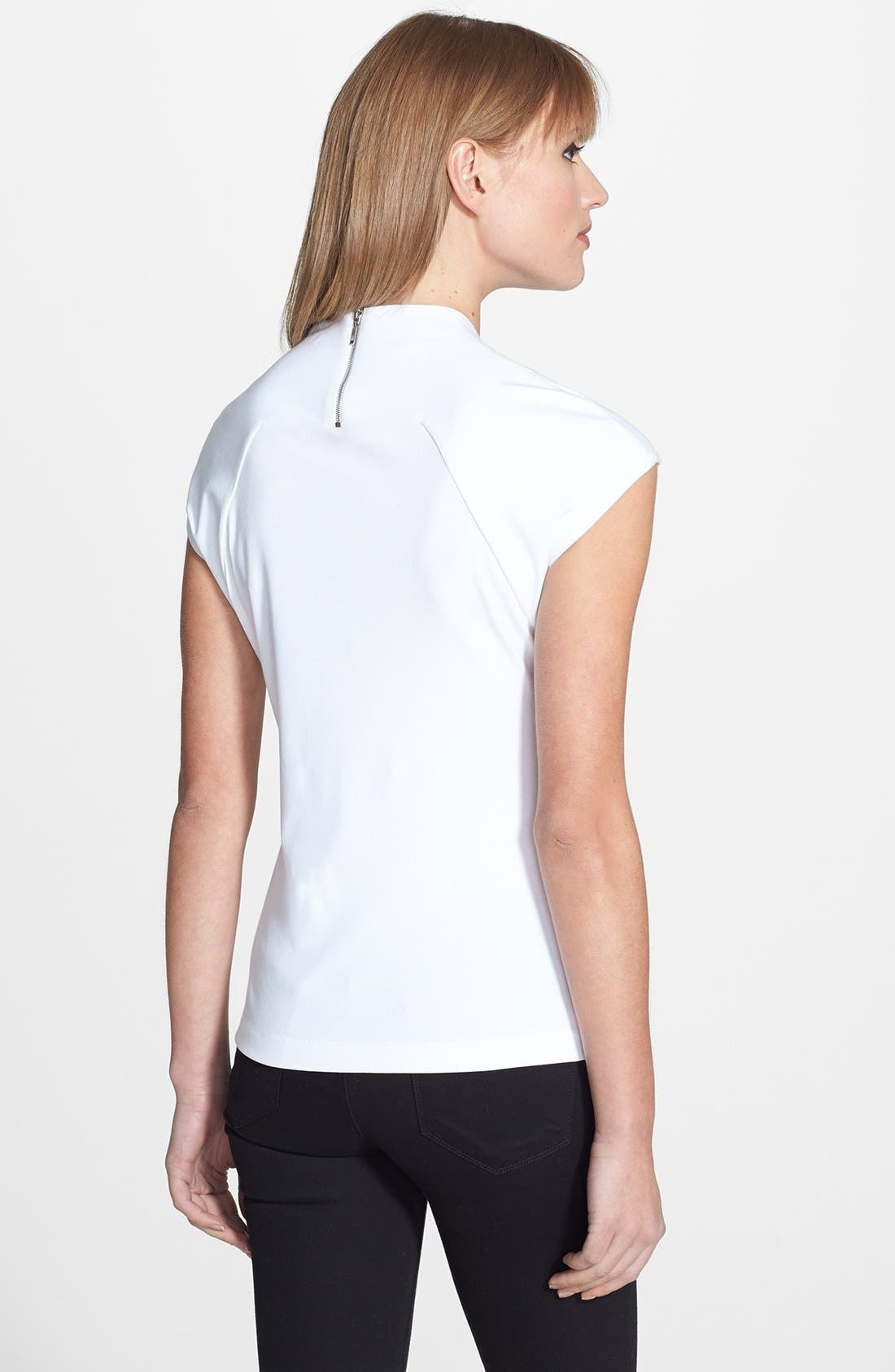 Alternate Image 2  - Lafayette 148 New York Portrait Neck Cotton Rib Top (Petite)