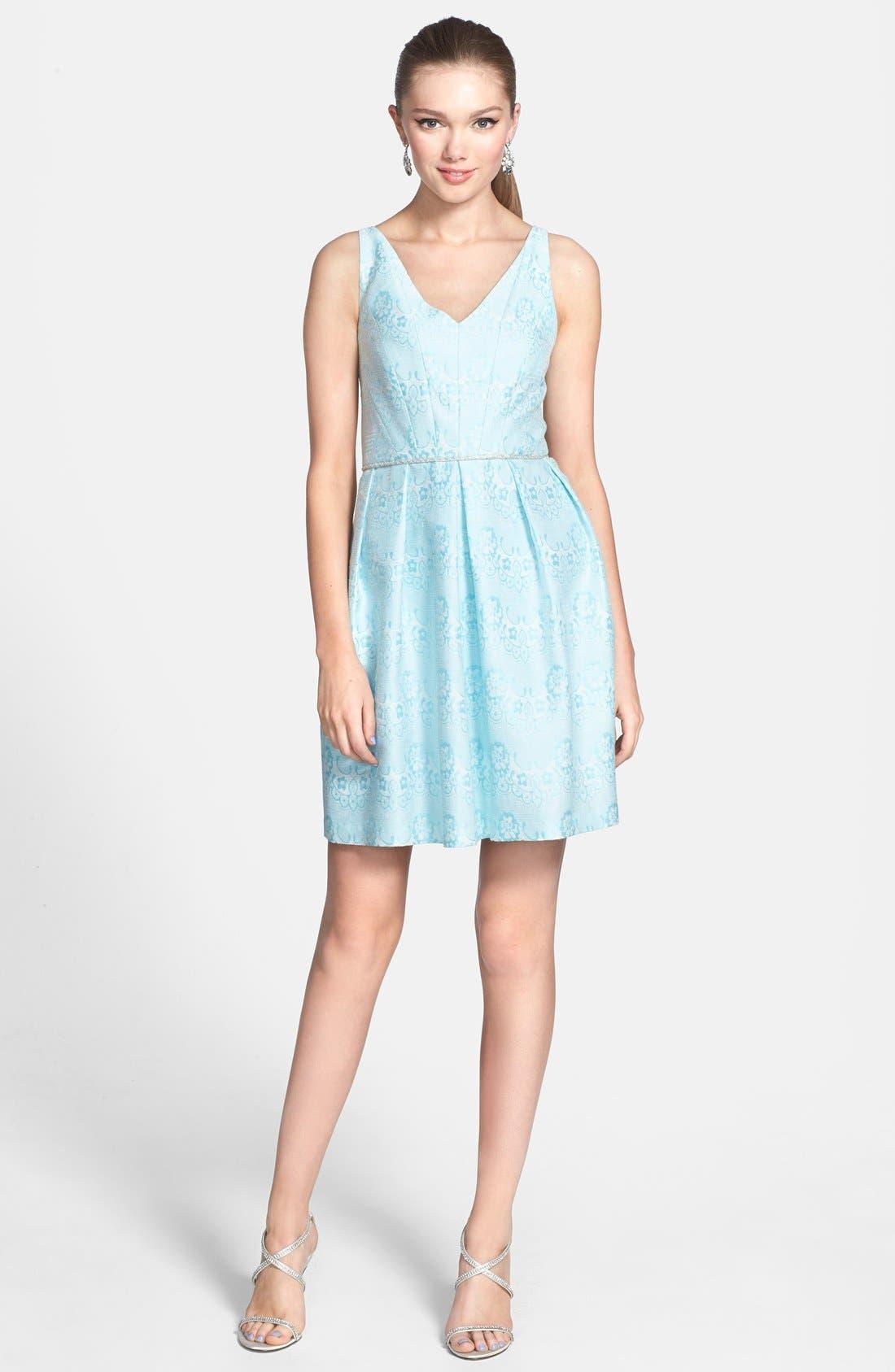 Main Image - a. drea Beaded Waist Jacquard Fit & Flare Dress (Juniors)