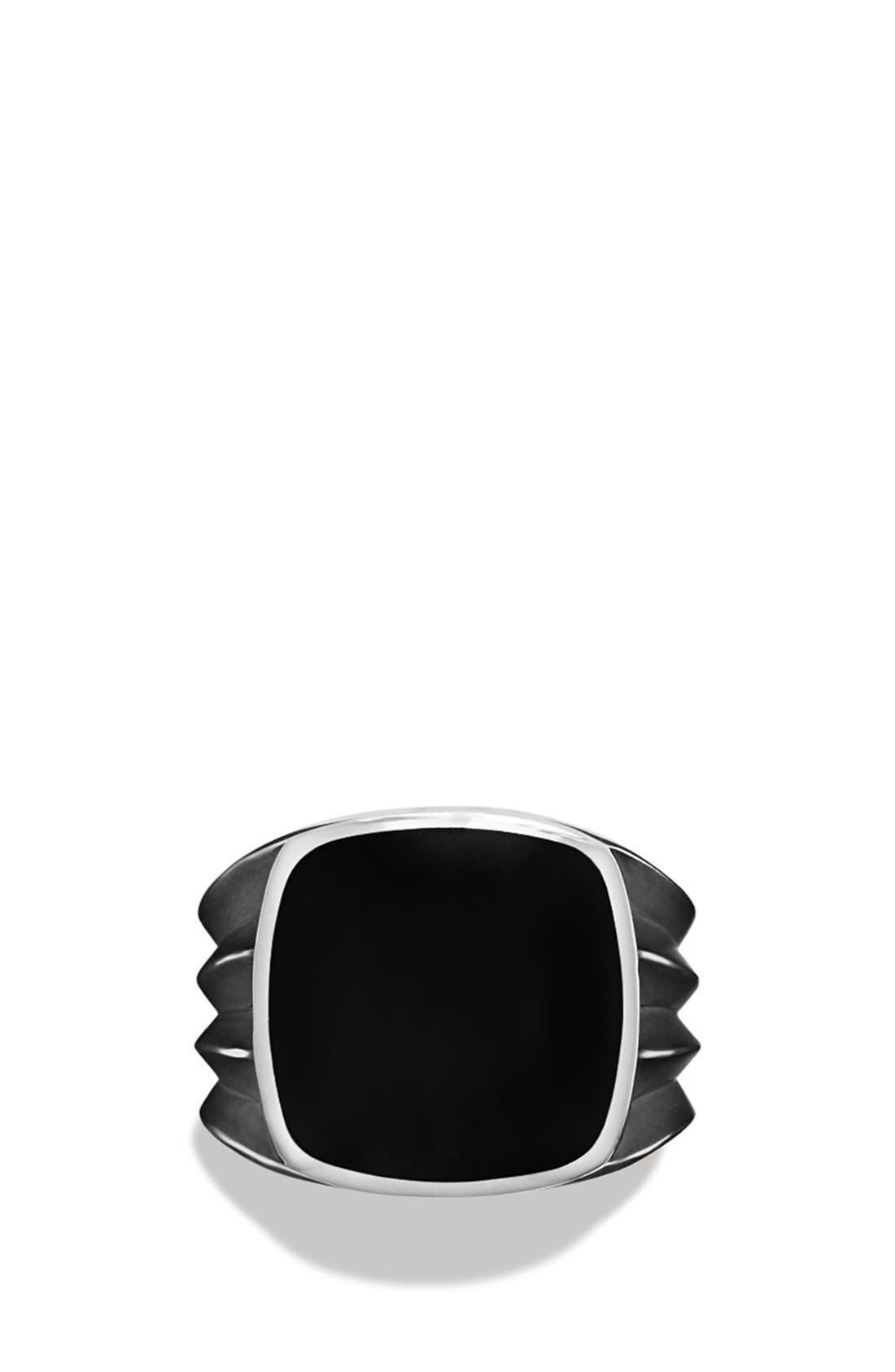 'Royal Cord' Knife Edge Signet Ring with Black Onyx,                             Alternate thumbnail 3, color,                             Black Onyx