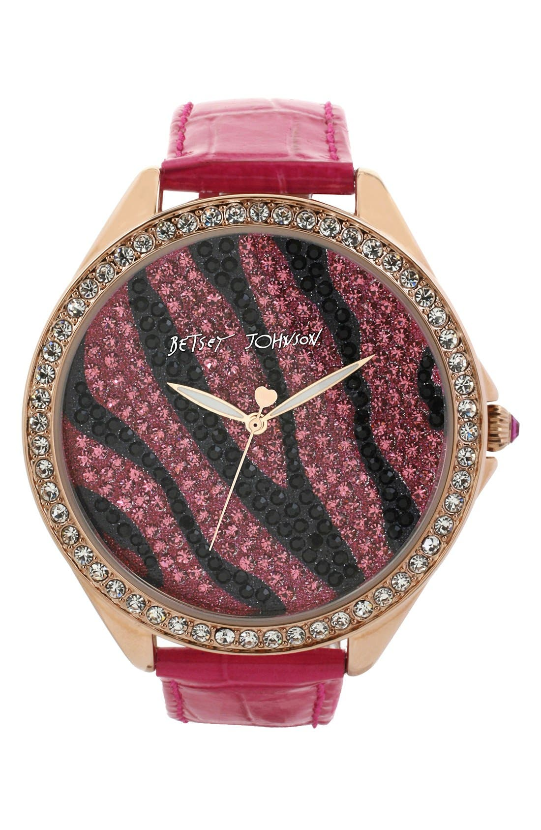 Main Image - Betsey Johnson Pavé Dial Embossed Leather Strap Watch, 48mm