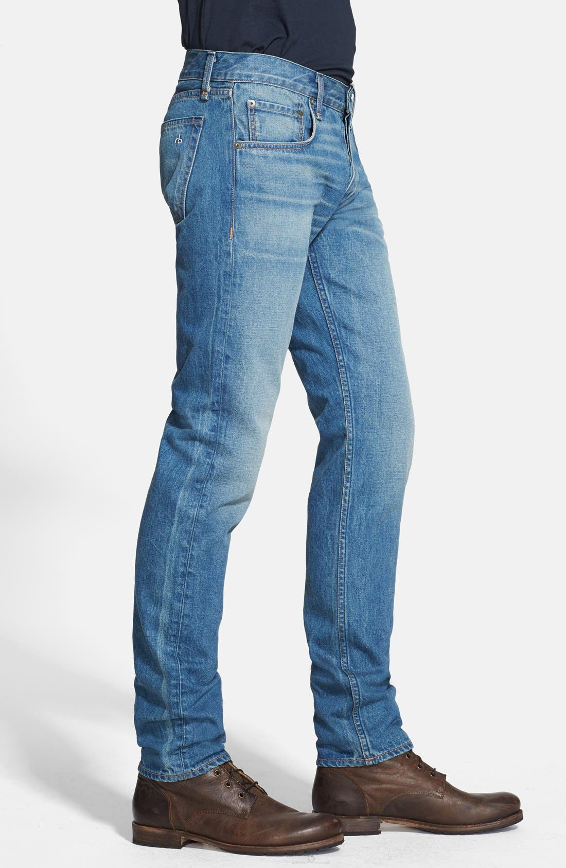 Alternate Image 3  - rag & bone 'RB23X' Slim Fit Jeans (Coastline Blue)