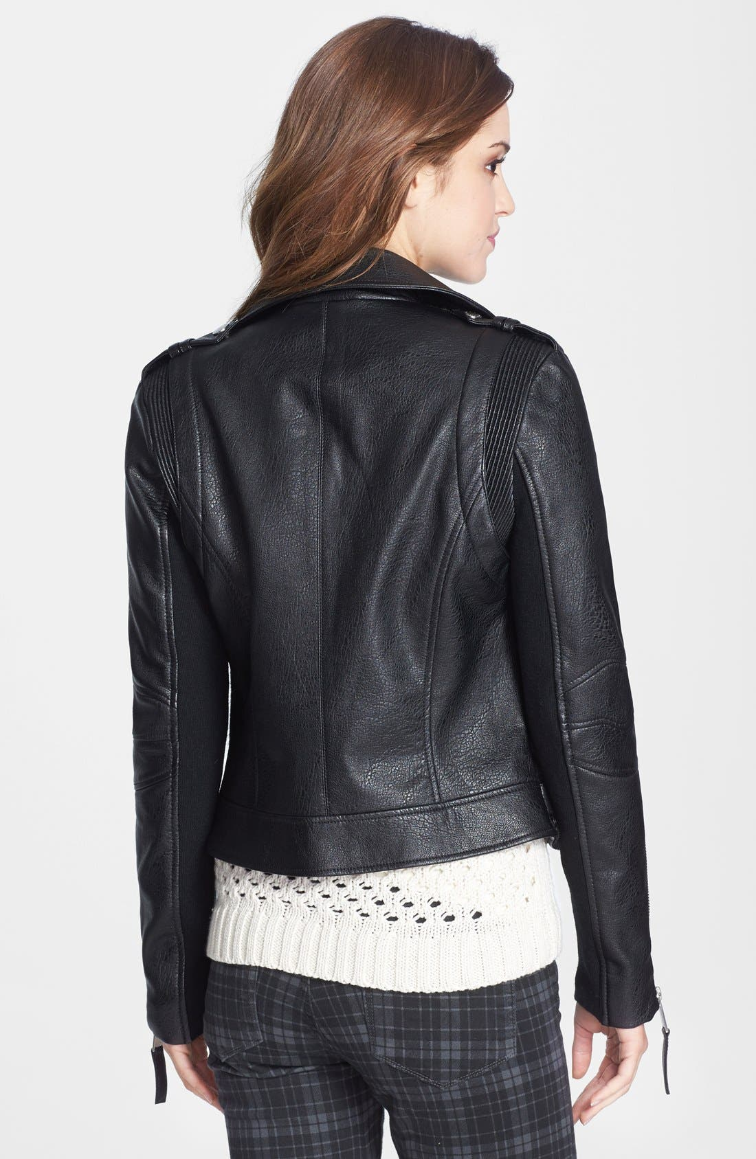 Alternate Image 2  - BCBGeneration Faux Leather & Faux Calf Hair Moto Jacket