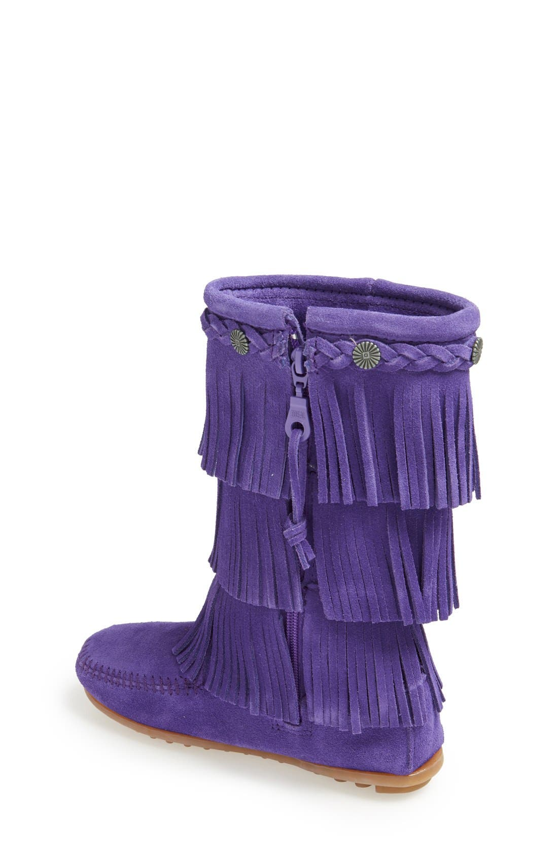 Three-Layer Fringe Boot,                             Alternate thumbnail 2, color,                             Purple
