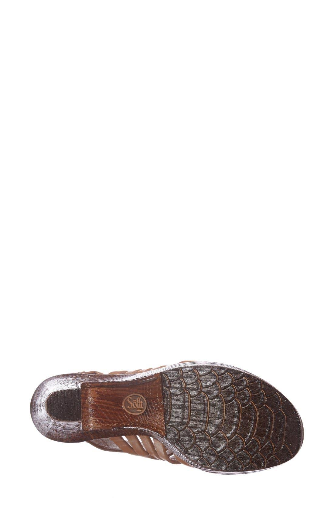 'Ohanna' Leather Sandal,                             Alternate thumbnail 4, color,                             Luggage