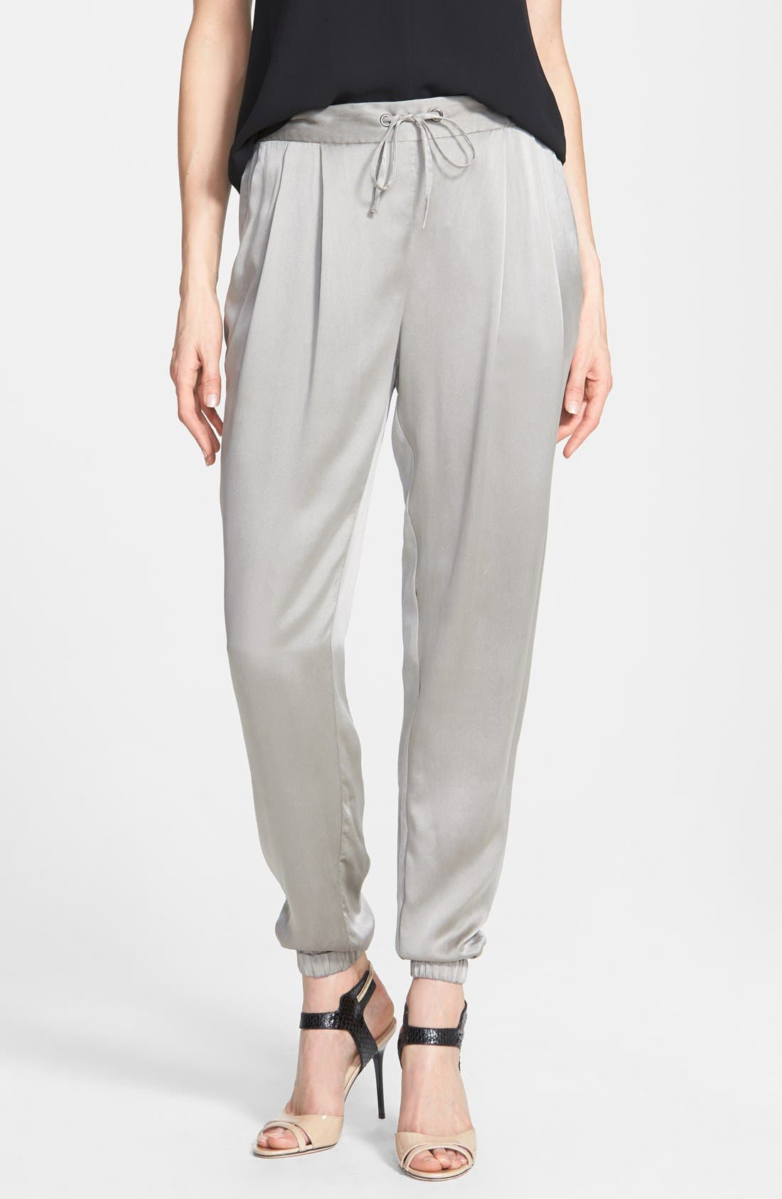 Silk Charmeuse Drawstring Ankle Pants,                         Main,                         color, Stone