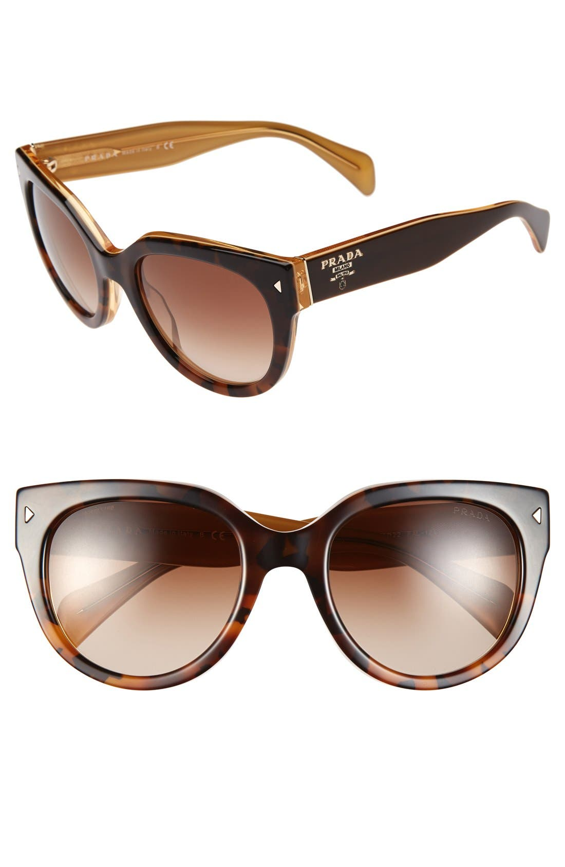 54mm Cat Eye Sunglasses,                         Main,                         color, Yellow Tortoise