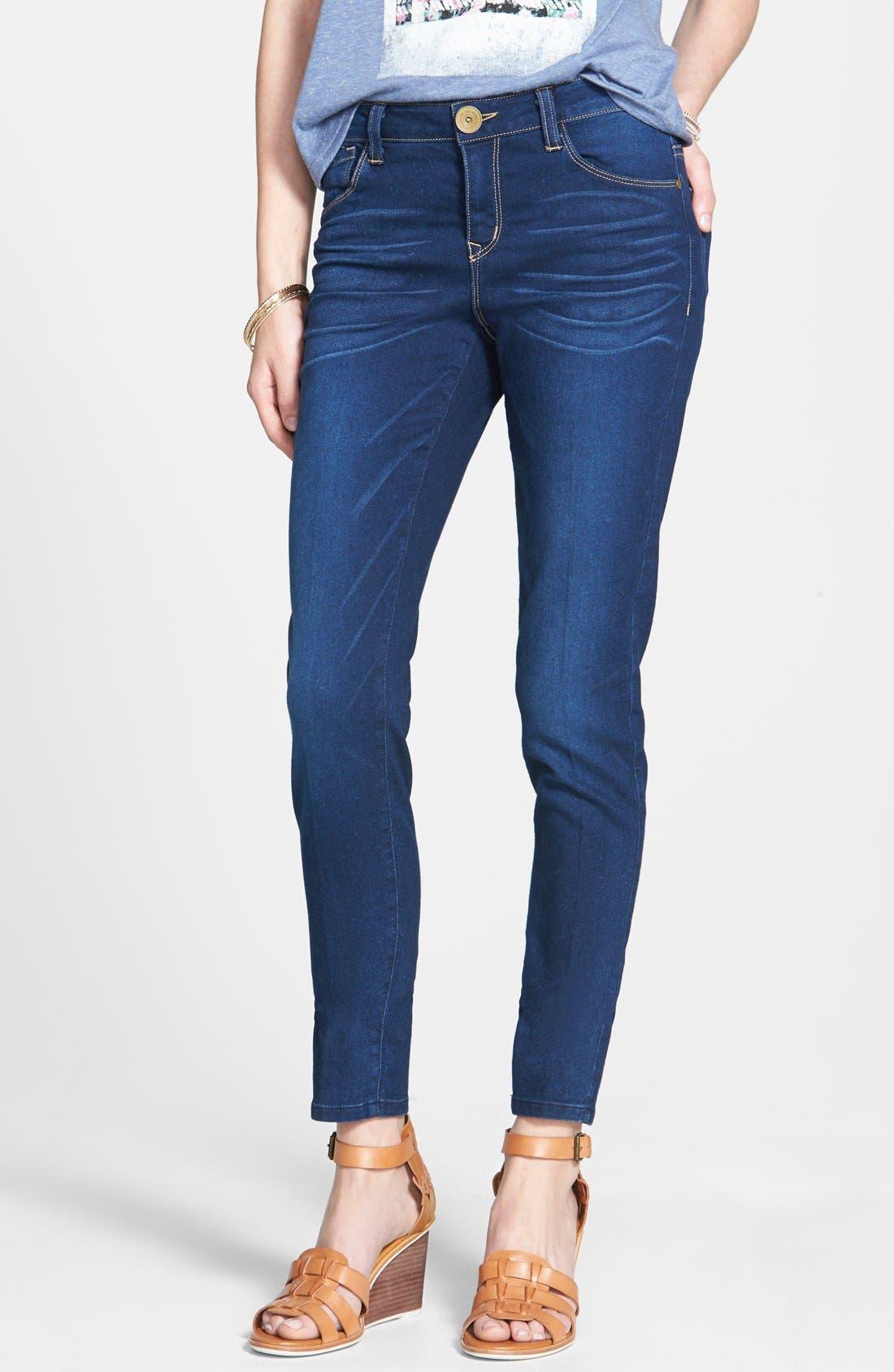 Alternate Image 1 Selected - Jolt Mid-Rise Skinny Jeans (Dark)