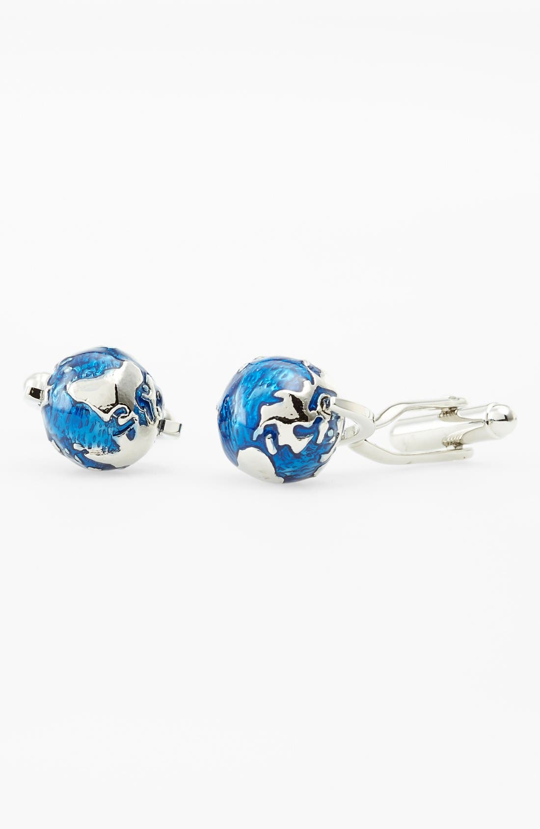 'Spinning Globe' Cuff Links,                             Main thumbnail 1, color,                             Silver