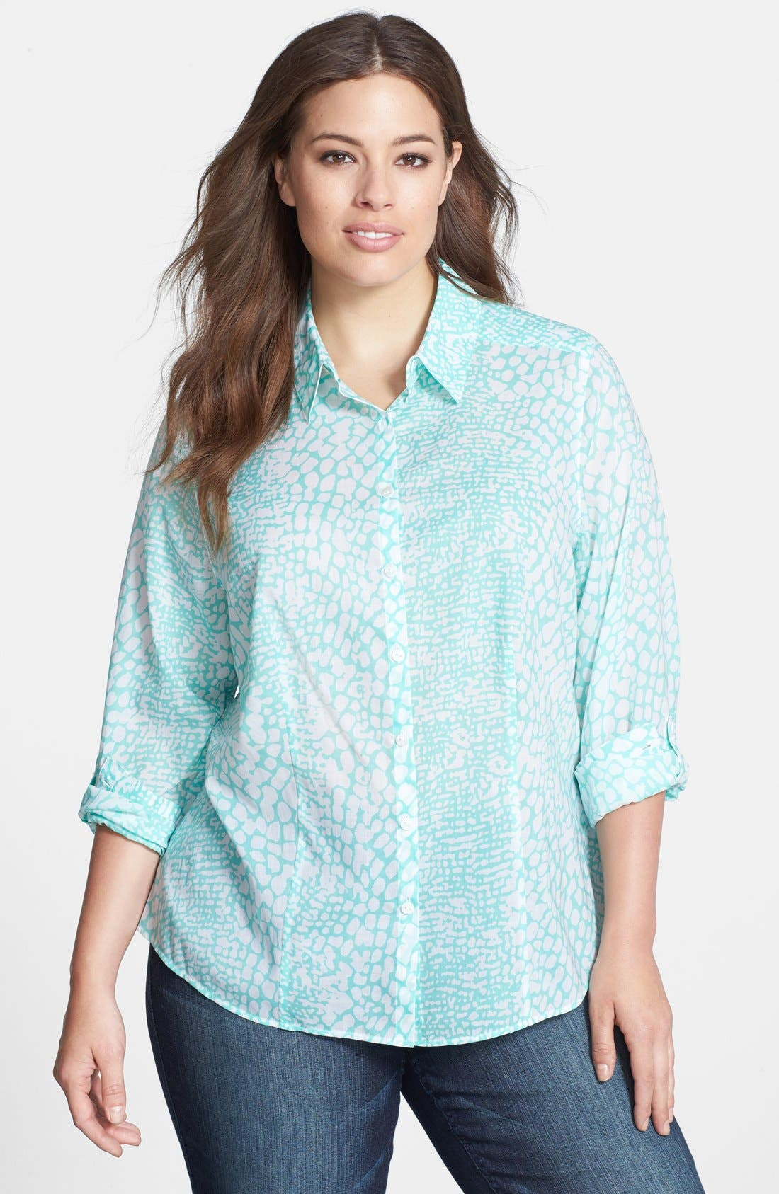 Alternate Image 1 Selected - Foxcroft Roll Sleeve Snakeskin Print Shaped Shirt (Plus Size)