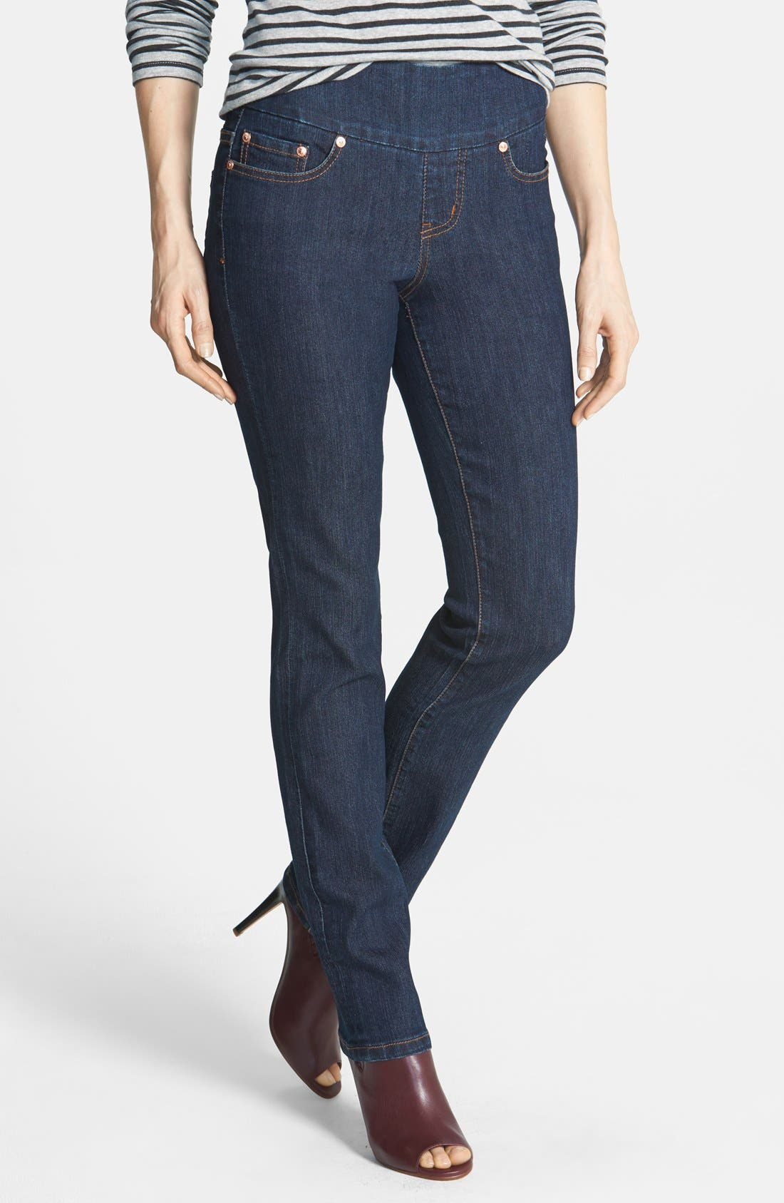 Alternate Image 1 Selected - Jag Jeans 'Peri' Pull-On Straight Leg Jeans (Dark Shadow) (Online Only)