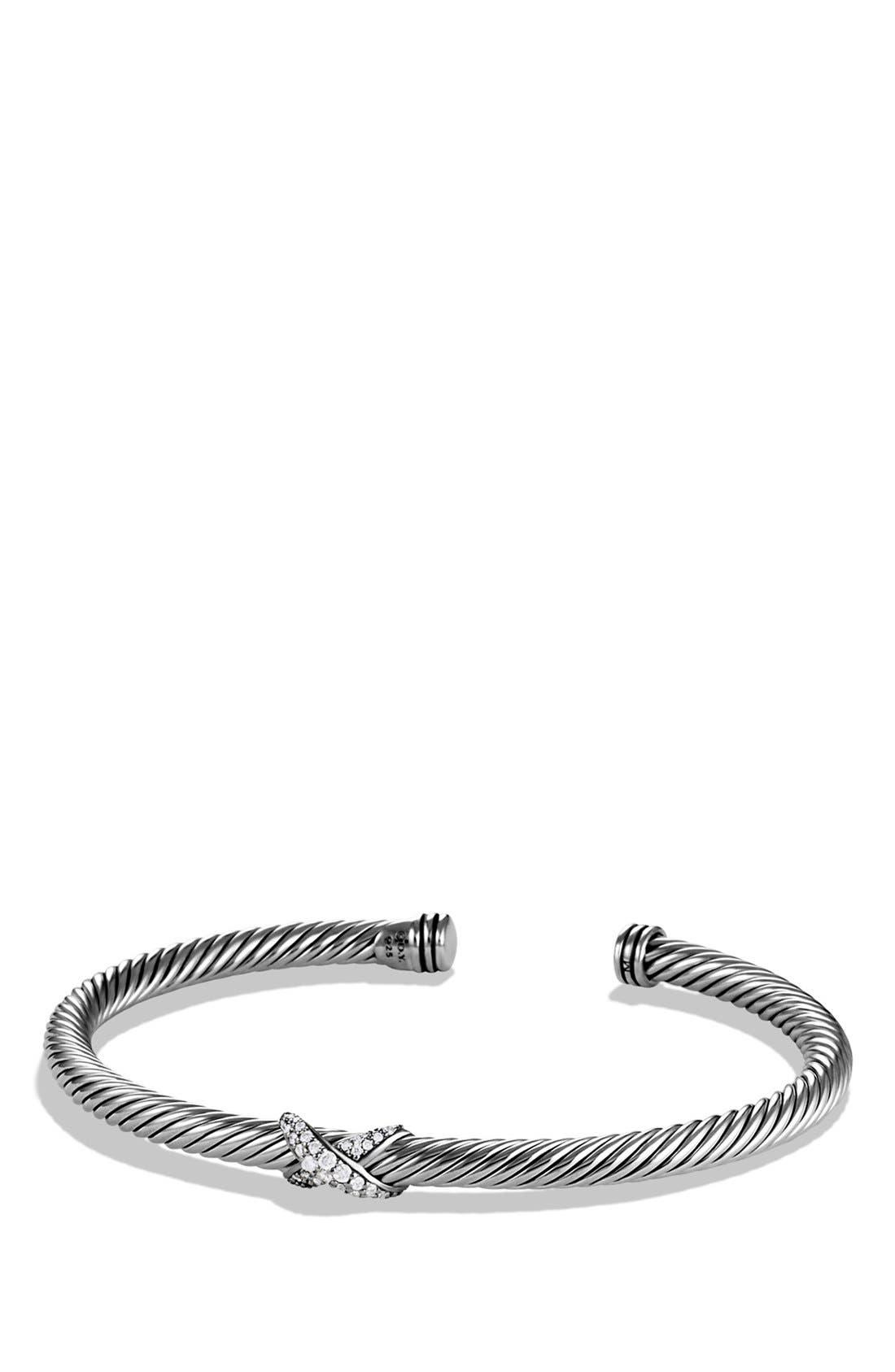 'X' Bracelet with Diamonds,                             Main thumbnail 1, color,                             Diamond