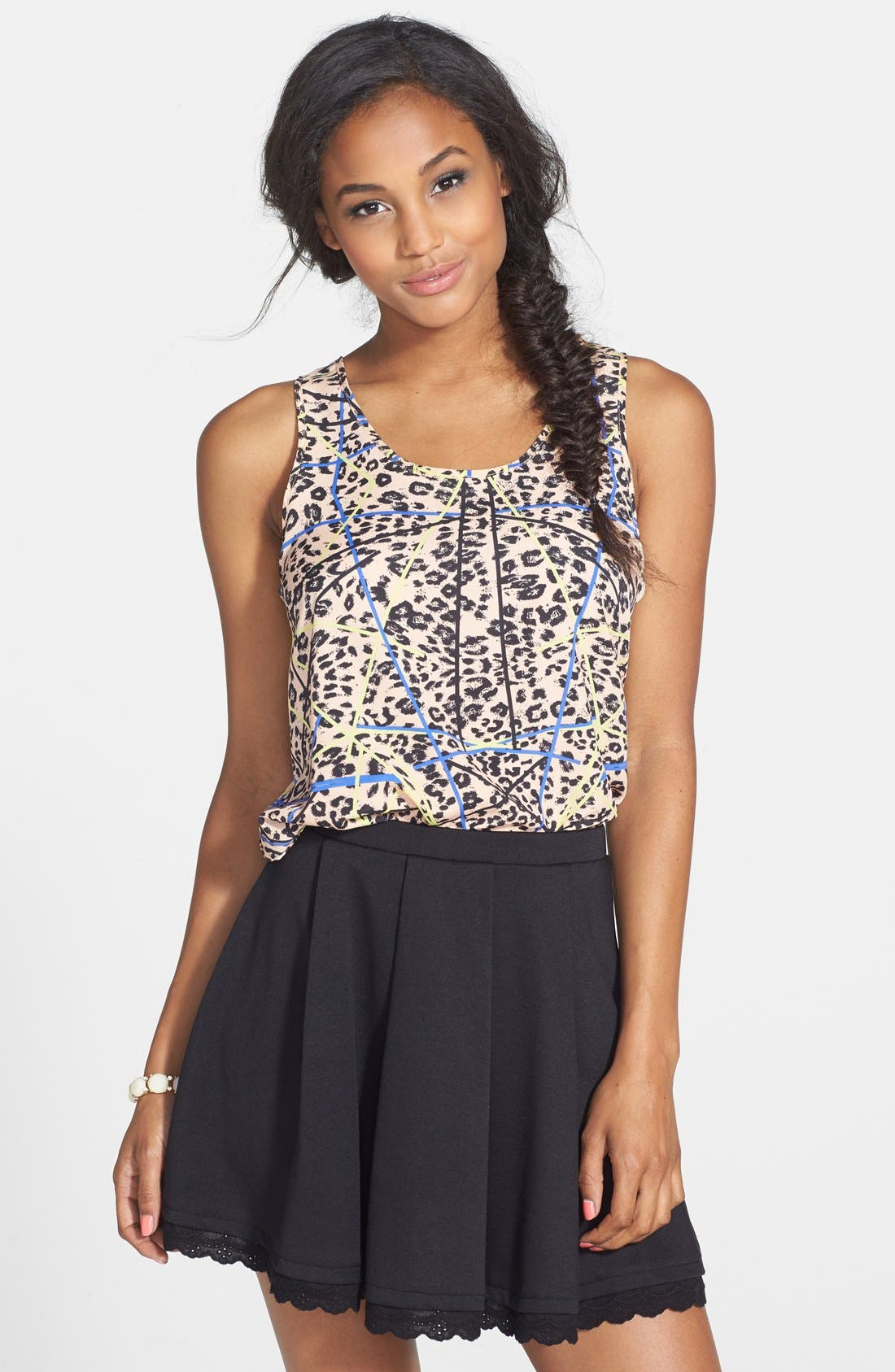 Main Image - Lush Print High/Low Tank (Juniors)