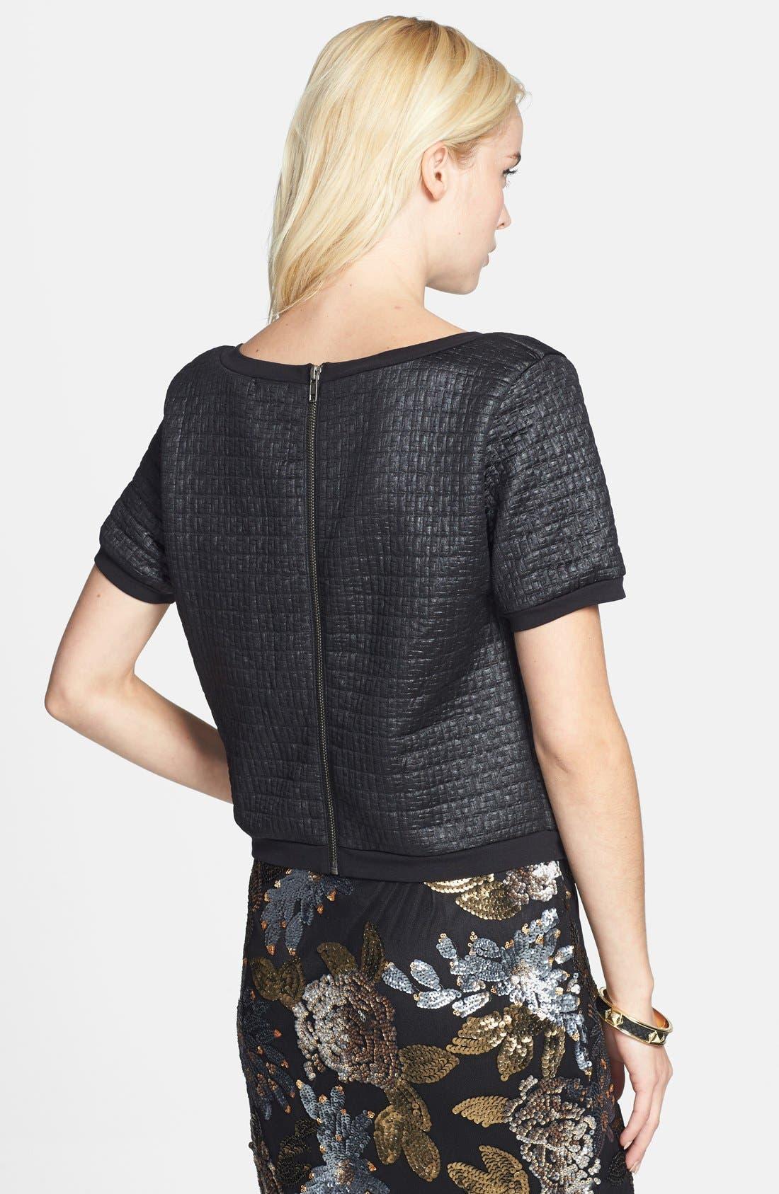 Alternate Image 2  - Leith Coated Textured Crop Sweatshirt