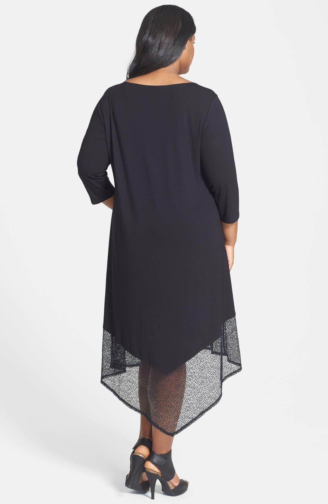 Alternate Image 2  - Eileen Fisher Lace Hem Scoop Neck Jersey Shift Dress (Plus Size)