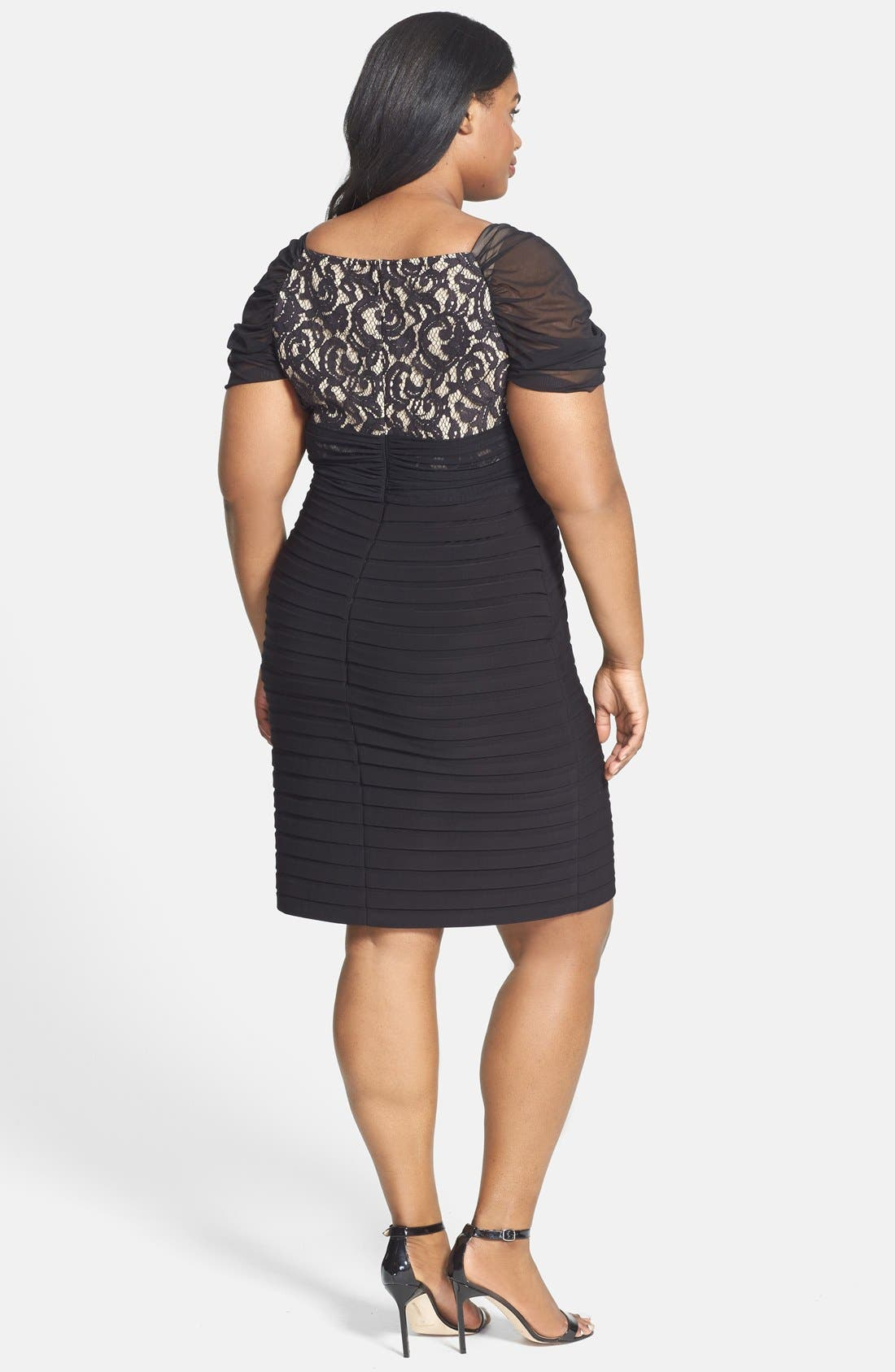 Alternate Image 2  - Adrianna Papell Shirred Front Lace & Jersey Shutter Pleat Dress (Plus Size)
