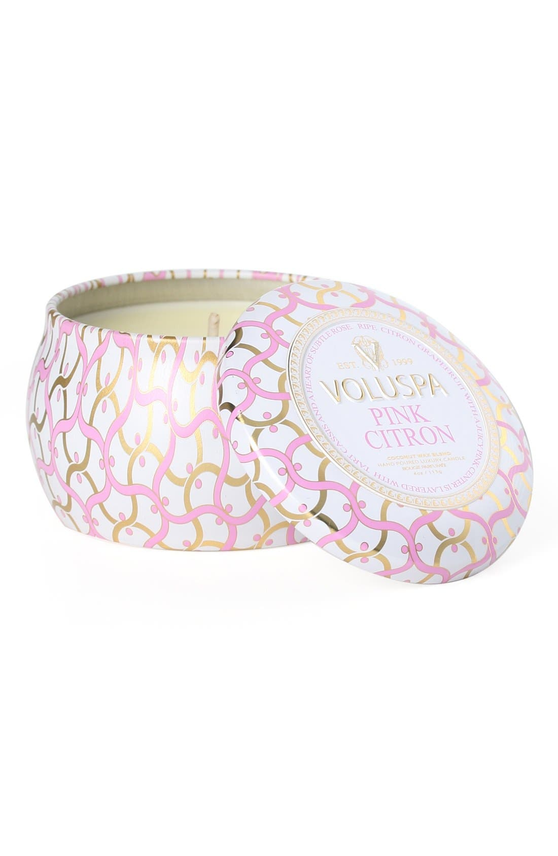 Maison Blanc Pink Citron Petite Decorative Tin Candle,                             Main thumbnail 1, color,                             No Color
