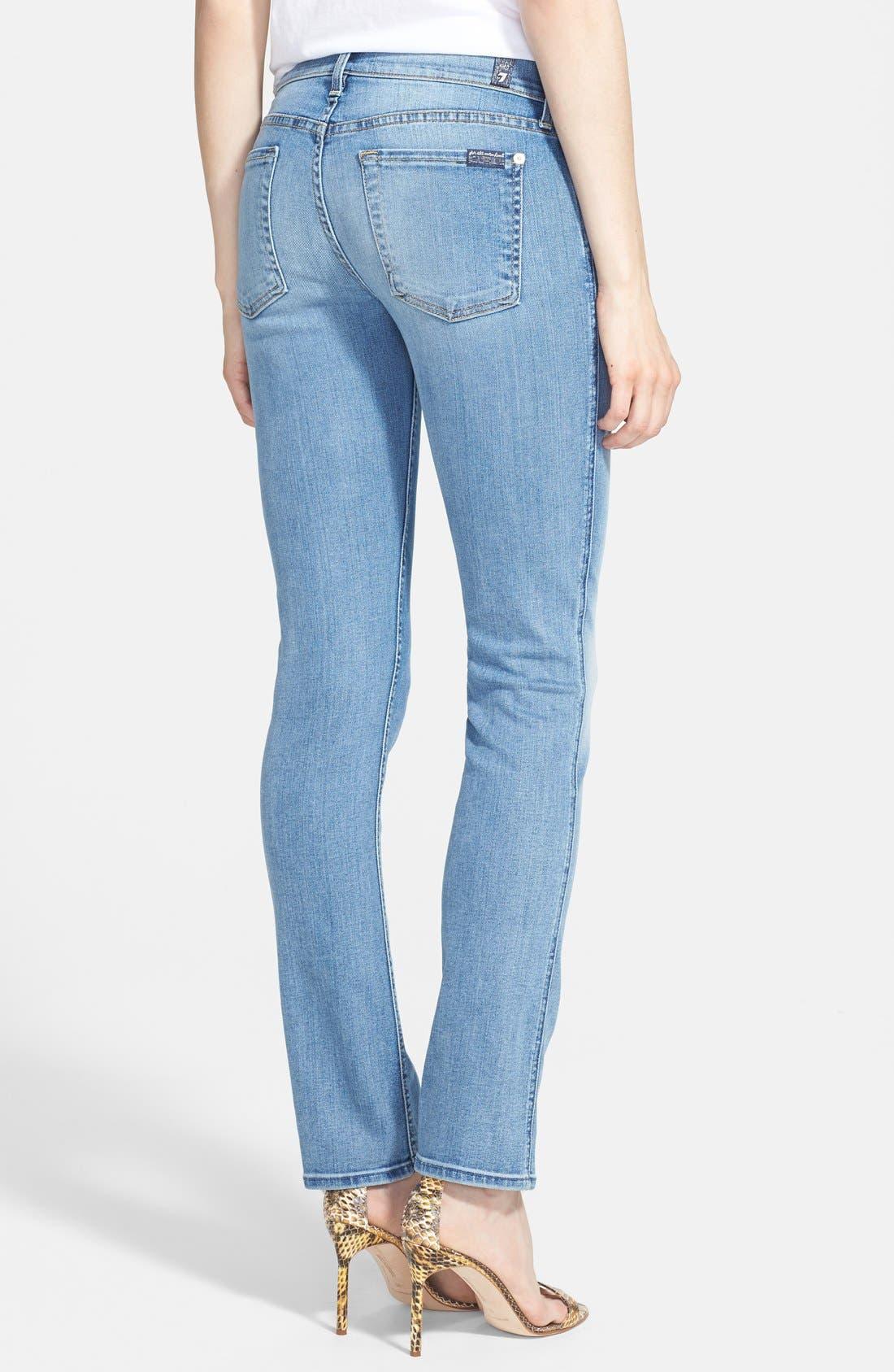 Alternate Image 2  - 7 For All Mankind® 'Modern' Straight Leg Stretch Jeans (Super Sanded Blue)