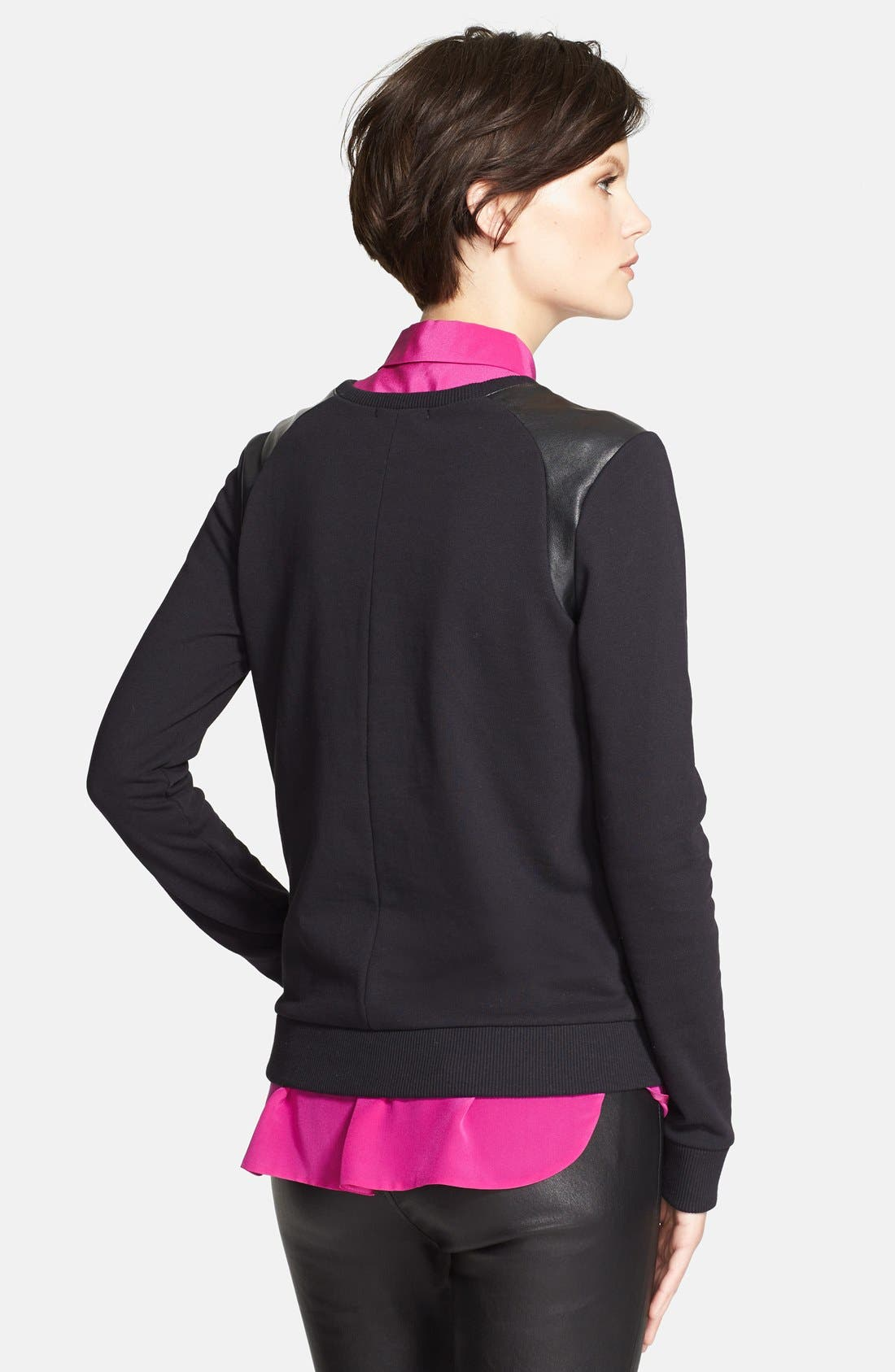 Alternate Image 2  - Vince Faux Leather Shoulder Trim Sweatshirt