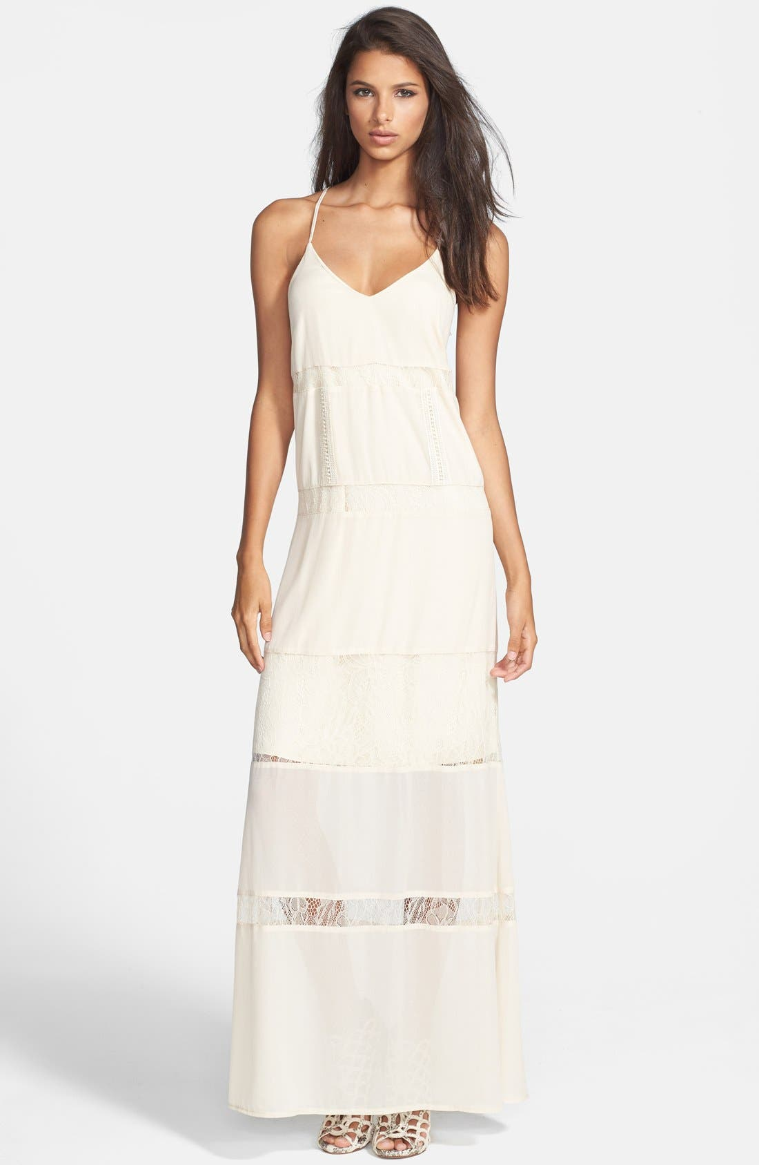 Main Image - ASTR Lace Inset Maxi Dress
