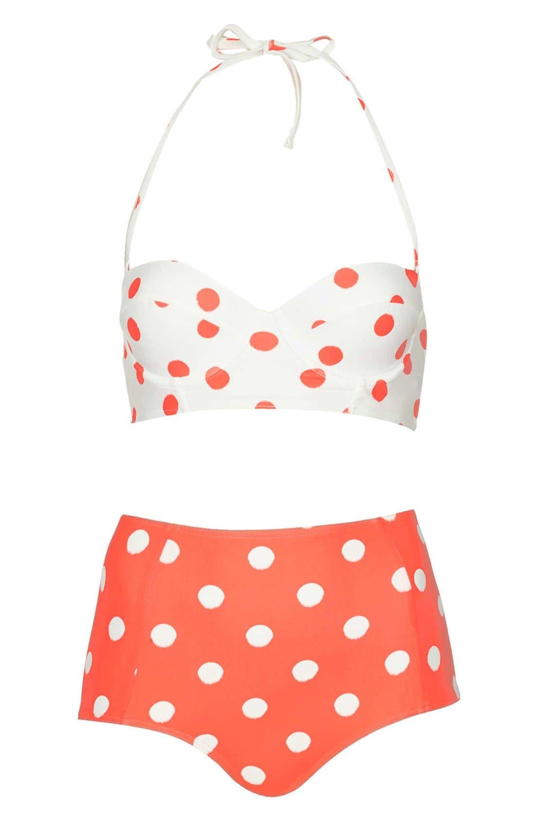 Main Image - Topshop Polka Dot High Rise Bikini