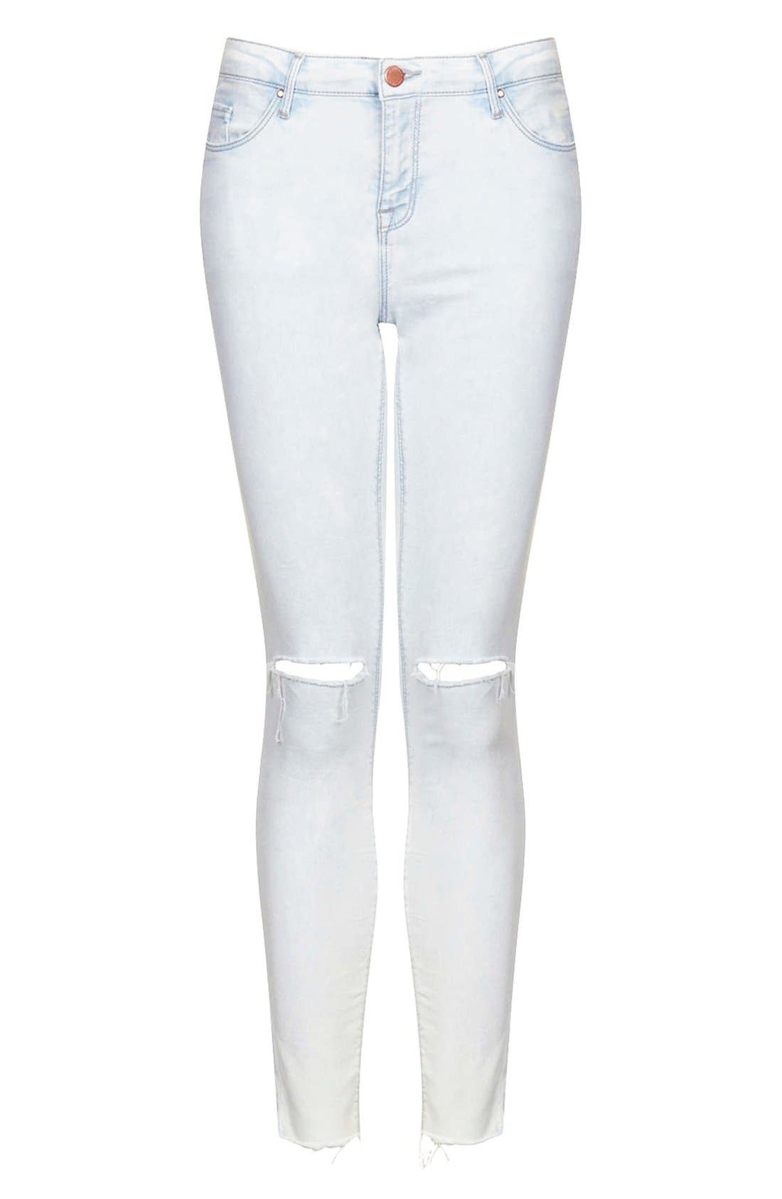 Alternate Image 3  - Topshop 'Leigh' Moto Ripped Ankle Skinny Jeans (Light Denim) (Regular & Short)