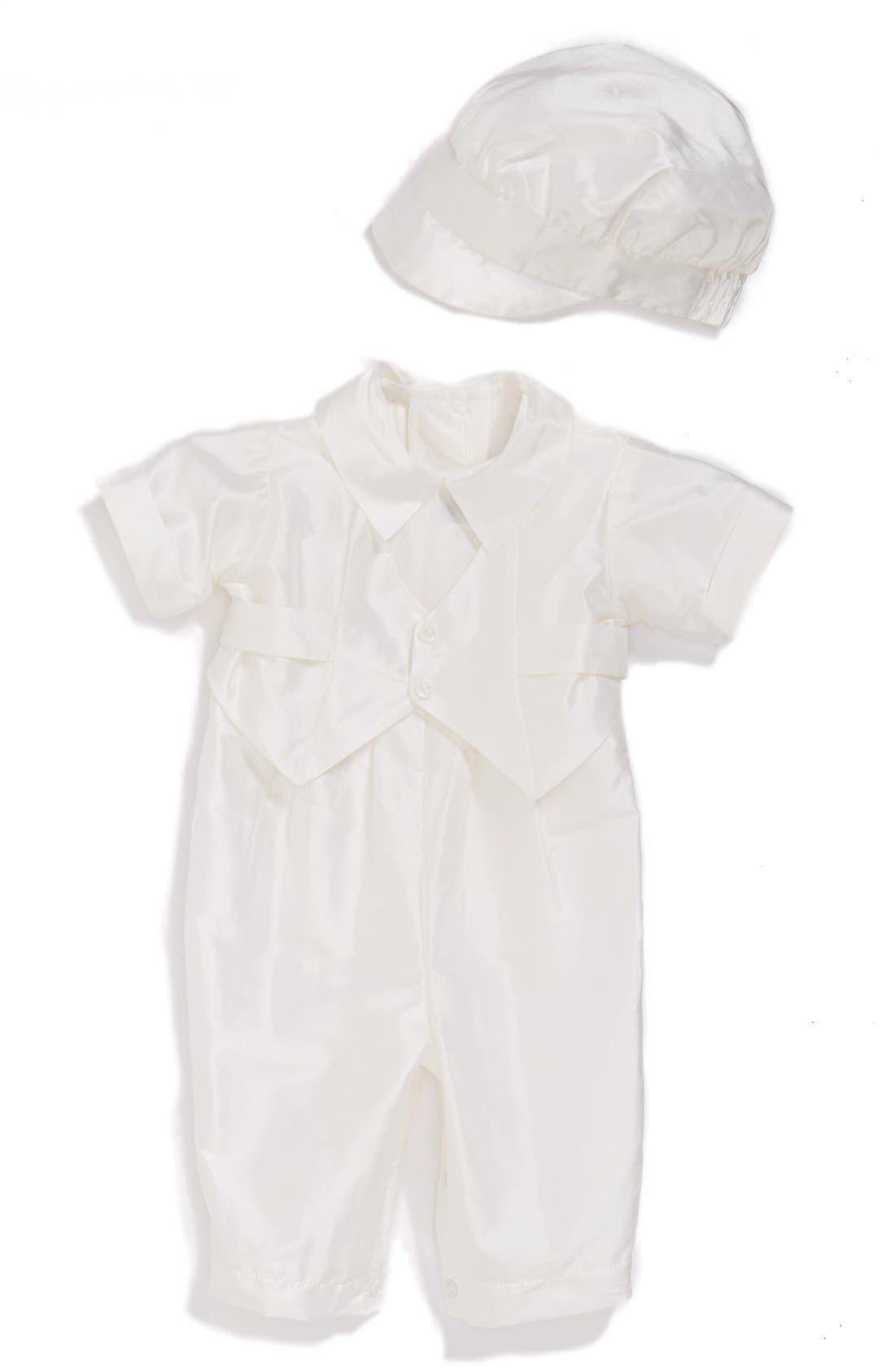 Silk Dupioni Romper and Hat Set,                         Main,                         color, White