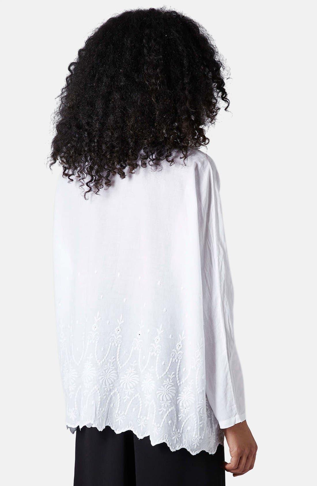 Alternate Image 2  - Topshop Embroidered Oversized Shirt
