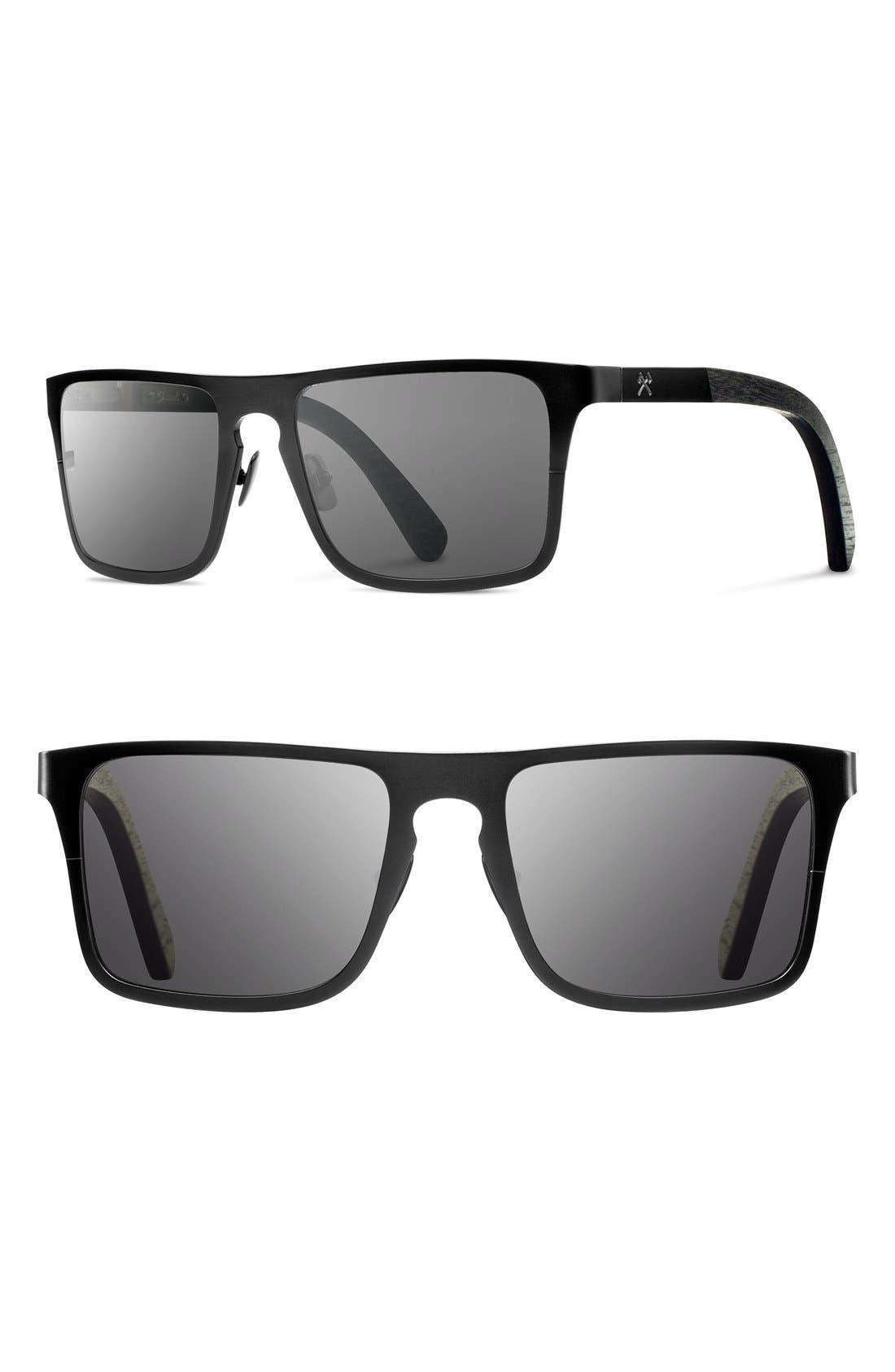 Alternate Image 1 Selected - Shwood 'Govy 2' 53mm Titanium & Wood Sunglasses