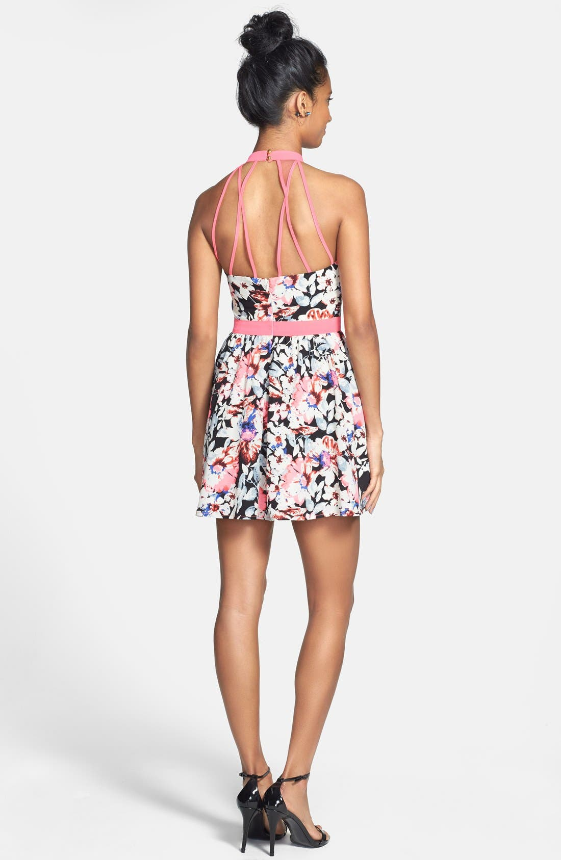 Alternate Image 2  - En Crème Neon Trim Floral Print Skater Dress (Juniors)