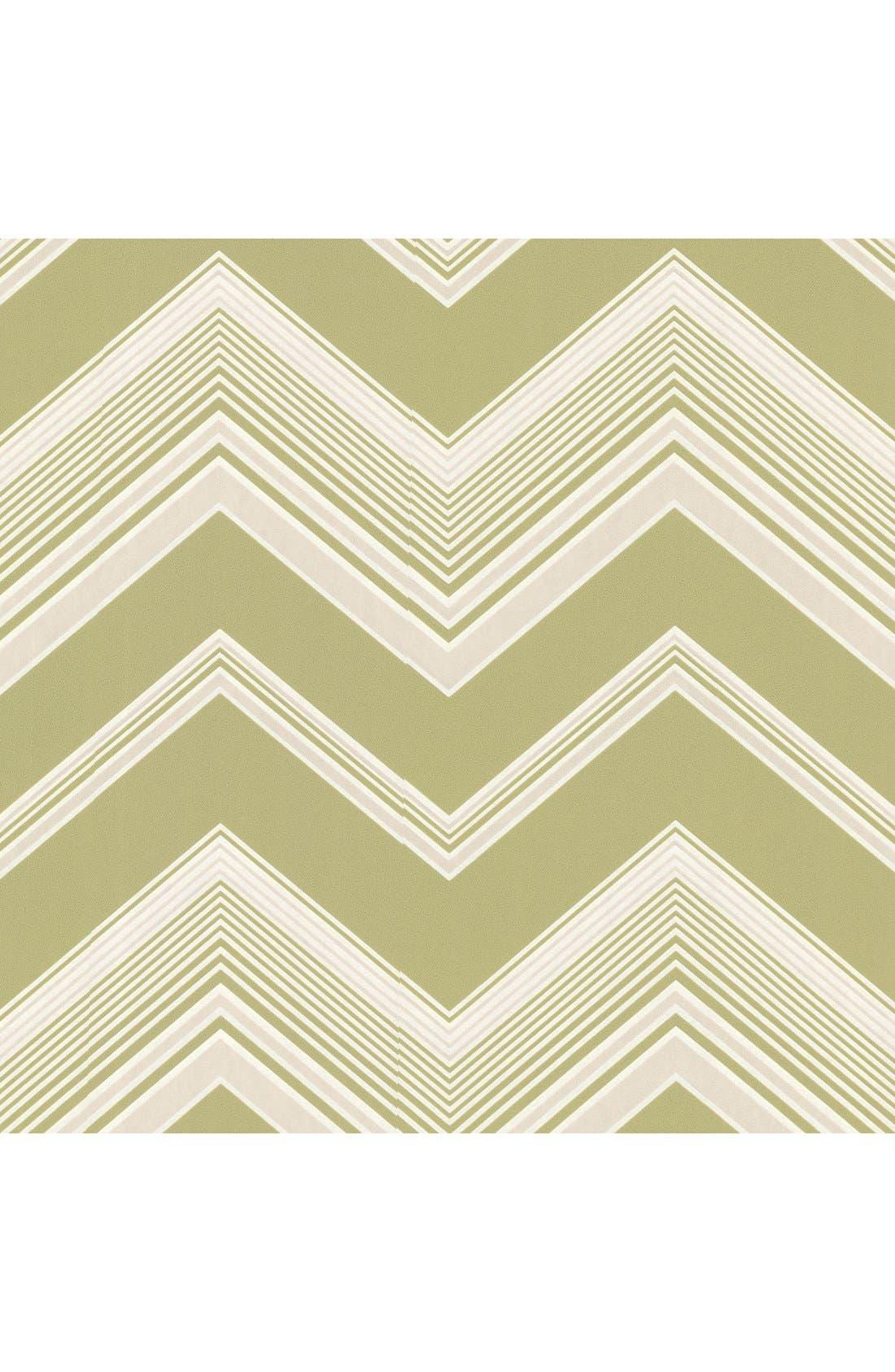 'Bearden Light - Zigzag' Unpasted Wallpaper,                             Main thumbnail 1, color,                             Green