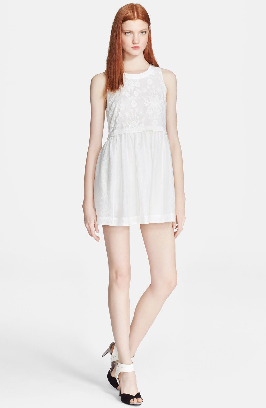 Alternate Image 1 Selected - Elizabeth and James 'Shadia' Embroidered Silk Babydoll Dress