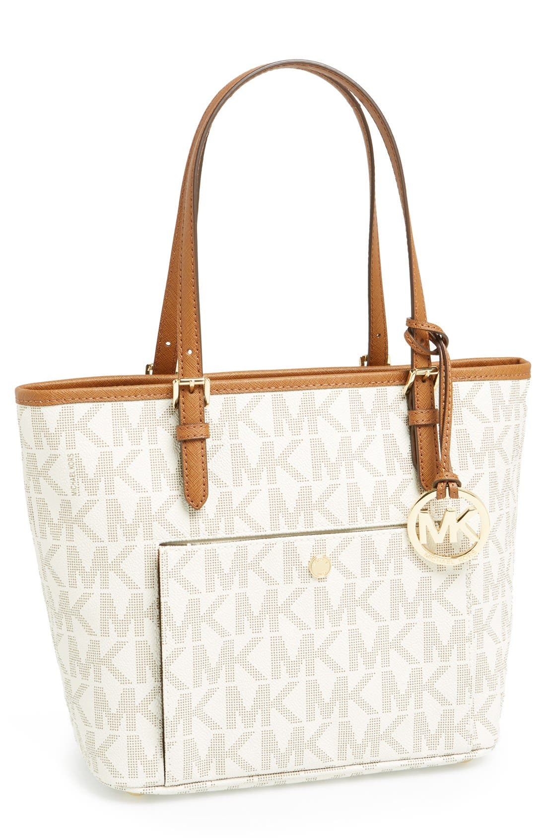 Alternate Image 1 Selected - MICHAEL Michael Kors 'Medium Jet Set' Signature Snap Pocket Tote