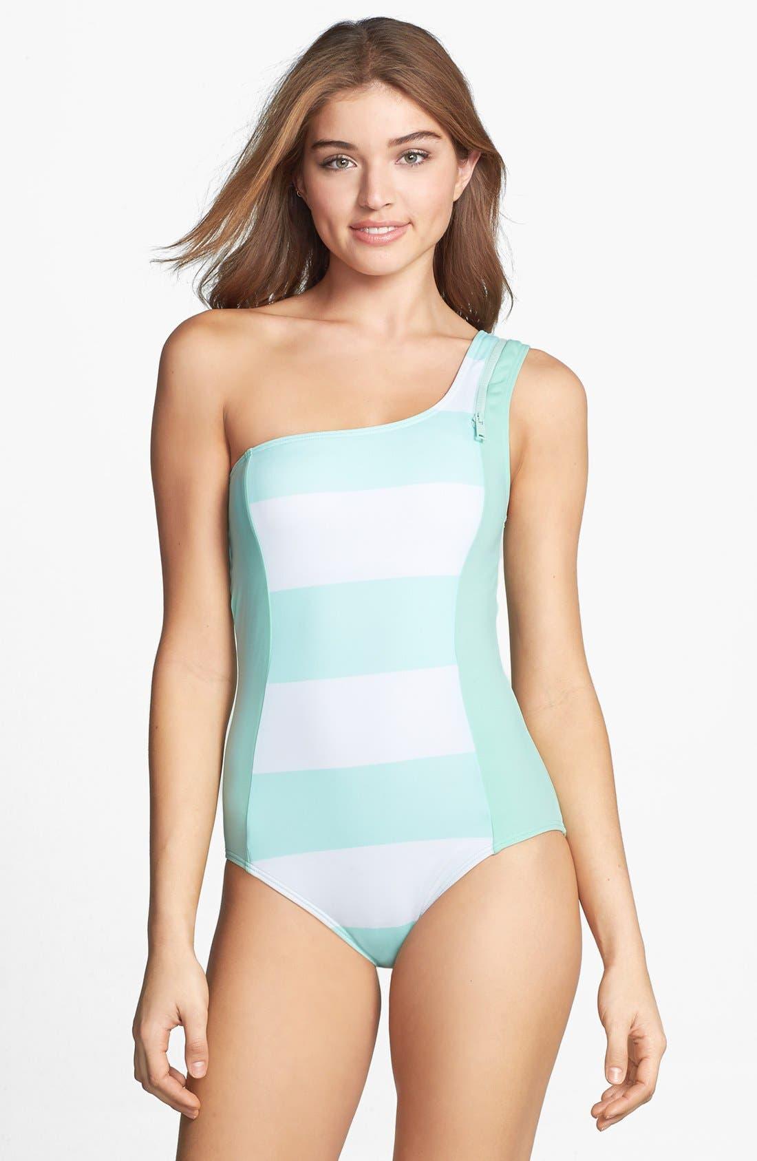 Main Image - DKNY 'Lorimer' Stripe Zip One-Shoulder Maillot
