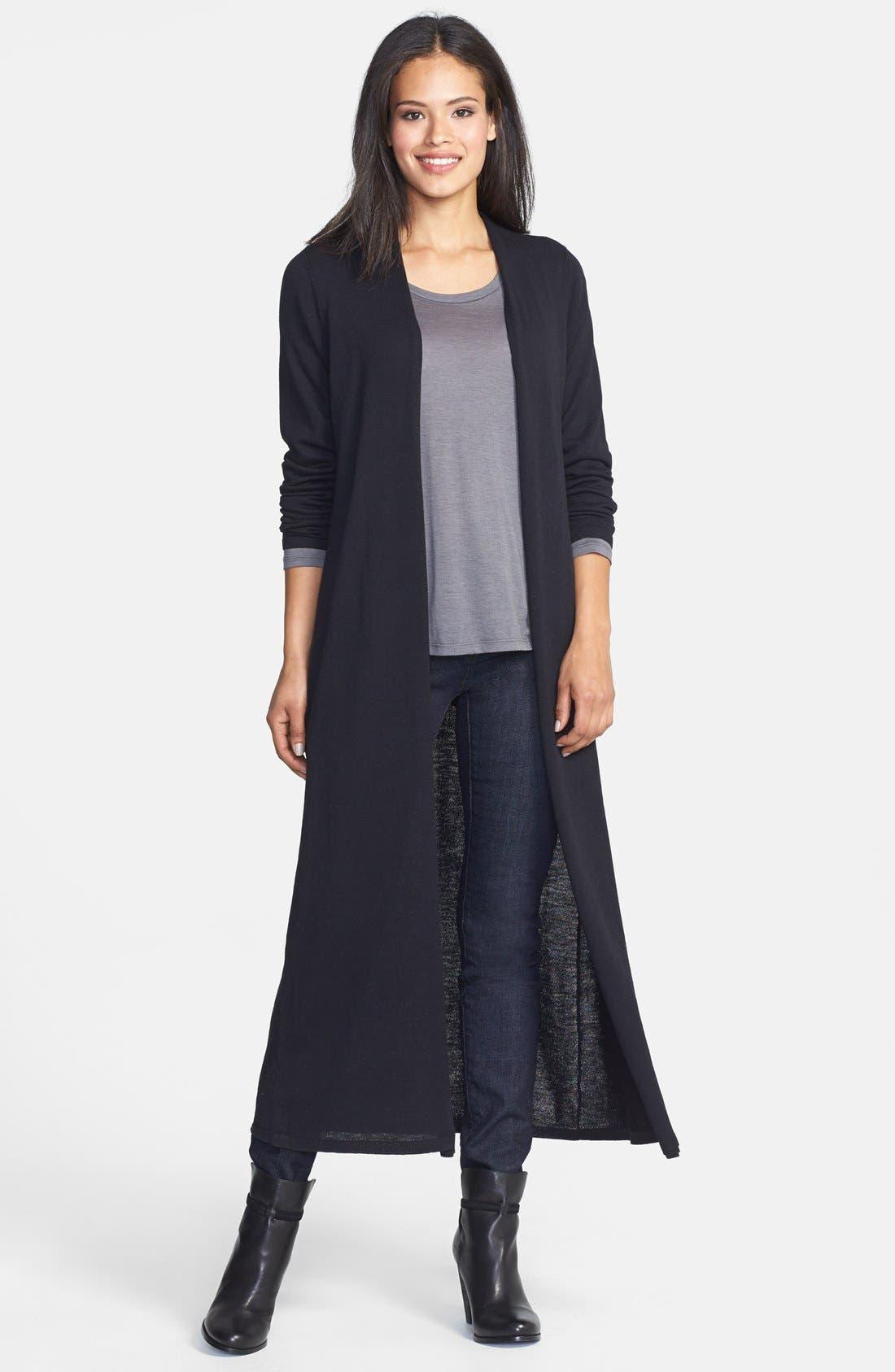 Long Wool Jersey Cardigan,                         Main,                         color, Black