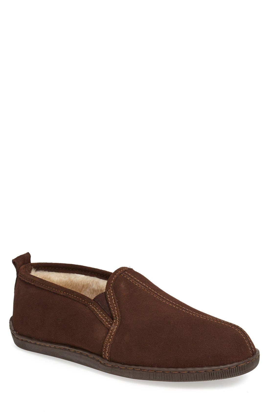 Suede Slipper,                         Main,                         color, Chocolate