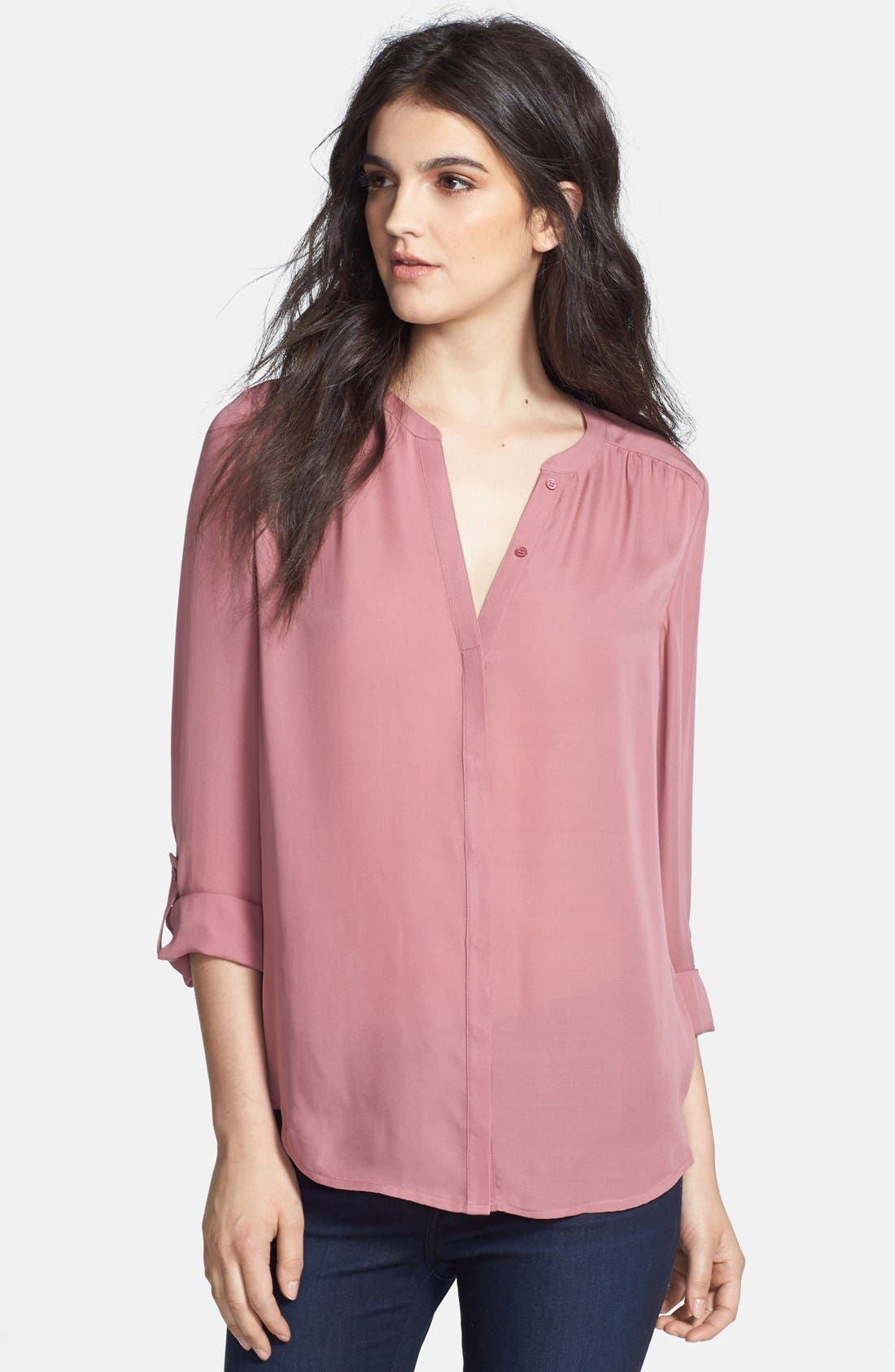 'Marice' Silk Blouse,                         Main,                         color, Rouge
