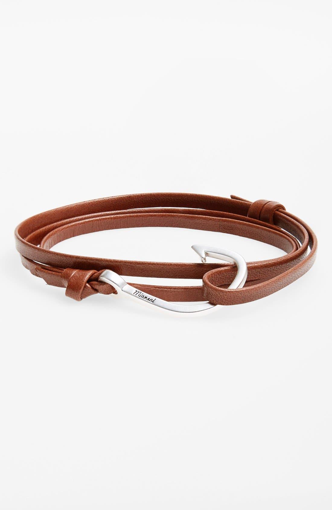 Silver Hook Leather Bracelet,                         Main,                         color, Brown