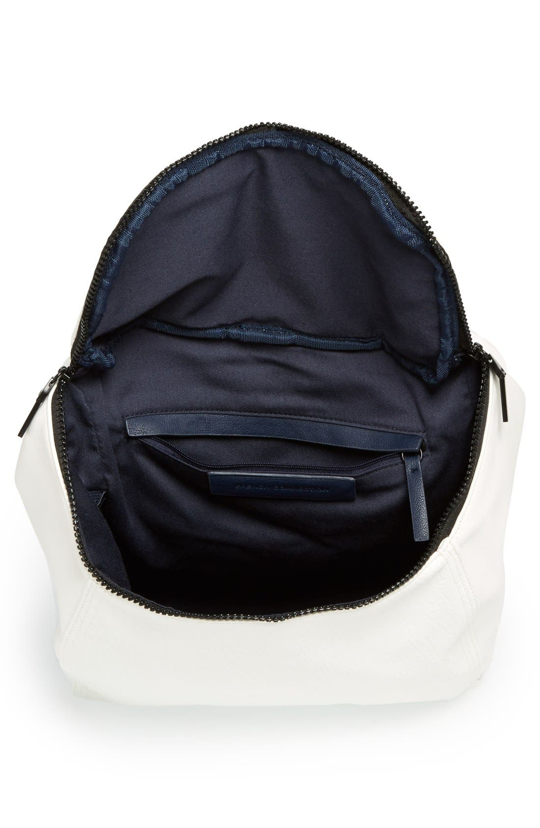 'Prim Lady' Faux Leather Backpack,                             Alternate thumbnail 3, color,                             White