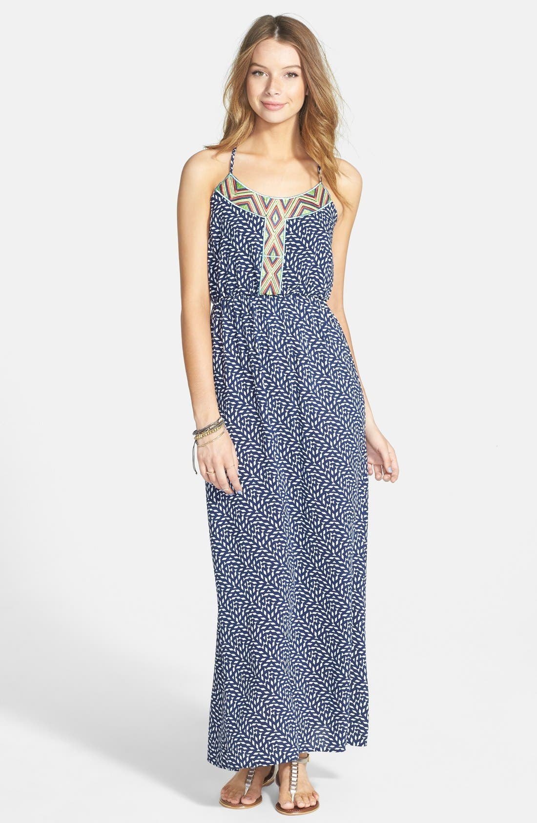 Main Image - dee elle Embroidered Print Maxi Dress (Juniors)