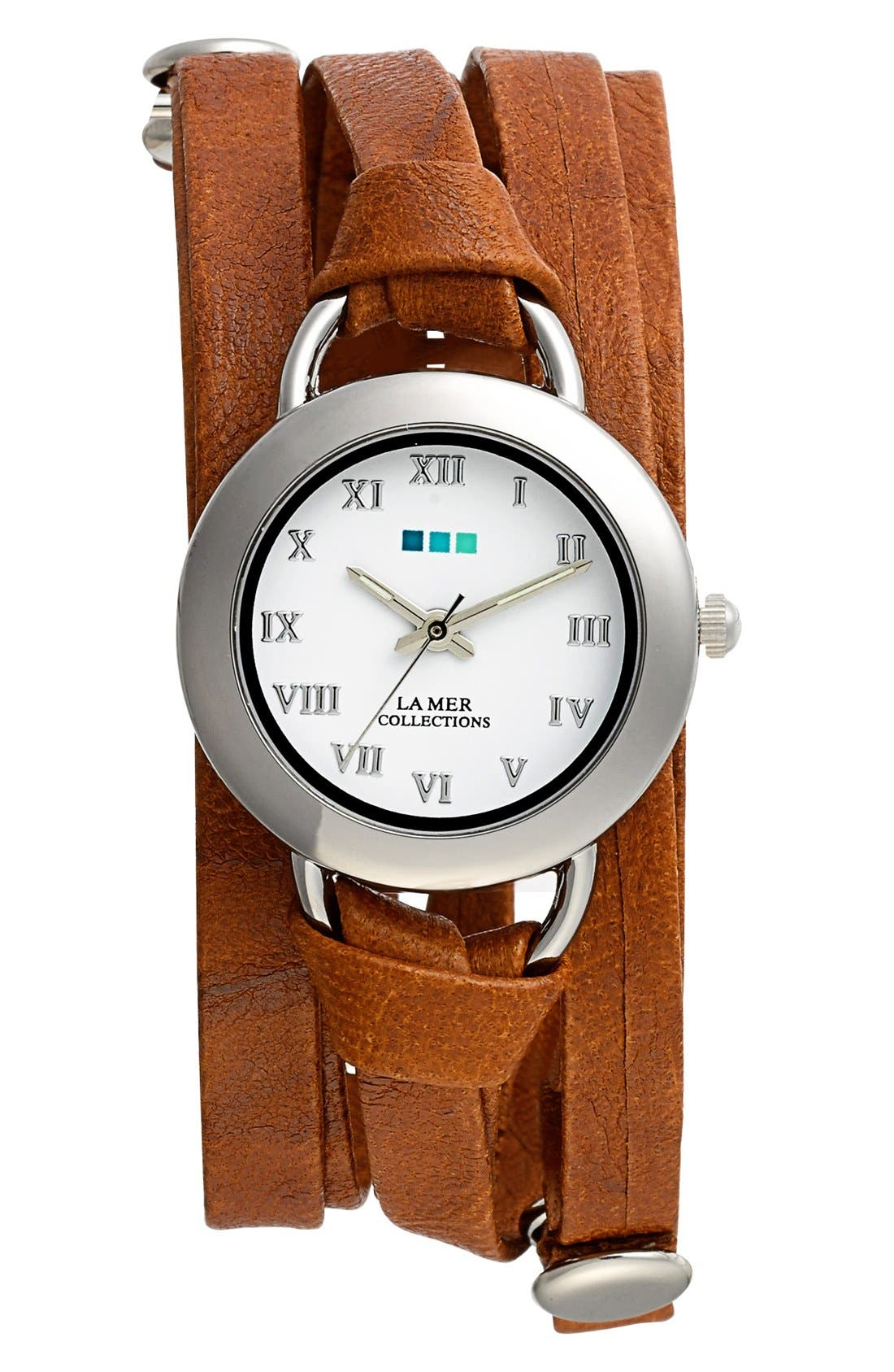 'Saturn' Leather Wrap Bracelet Watch, 32mm x 30mm,                             Main thumbnail 1, color,                             Tobacco/ Silver