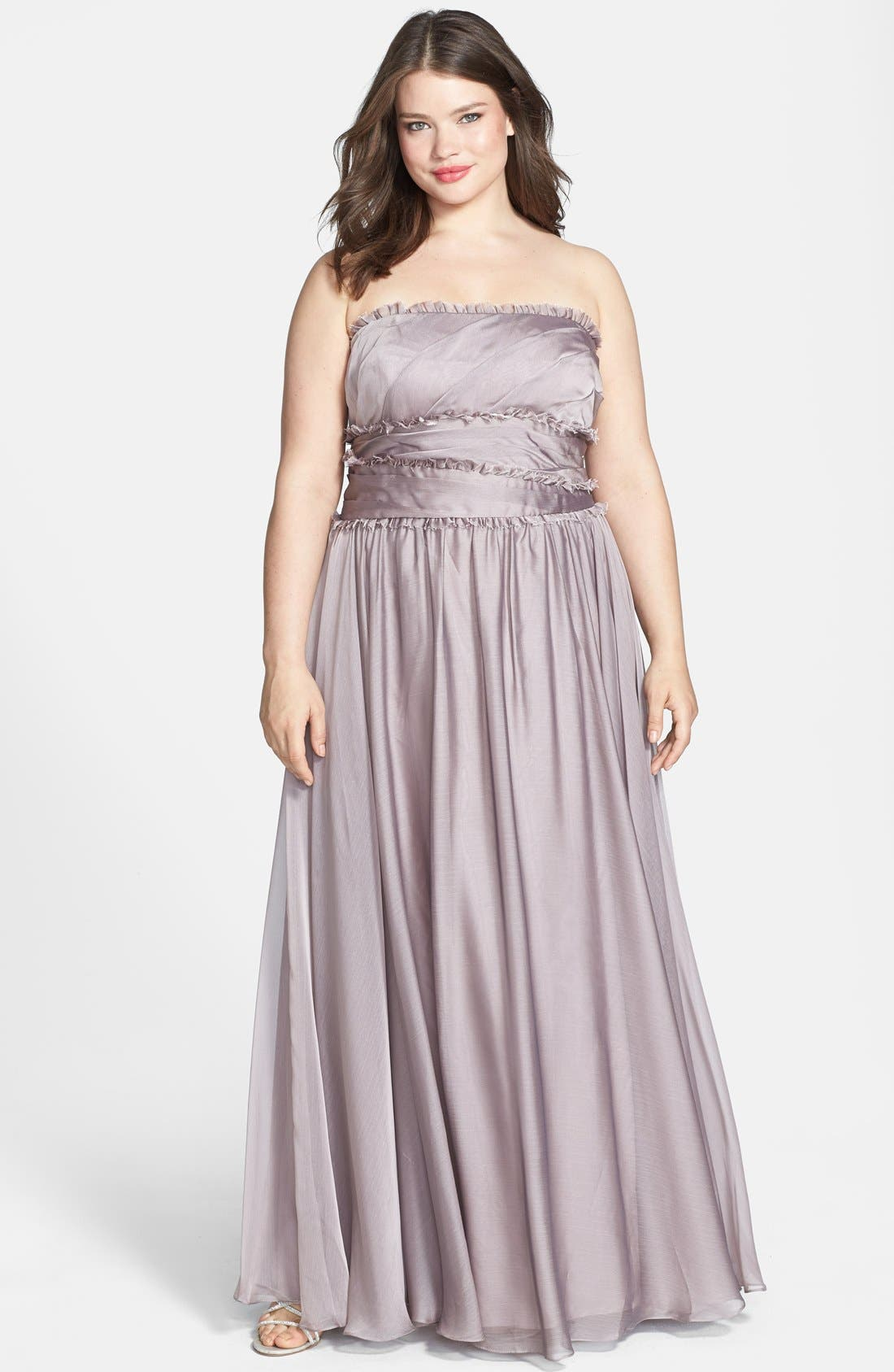 Alternate Image 4  - ML Monique Lhuillier Bridesmaids Strapless Chiffon Gown (Nordstrom Exclusive)