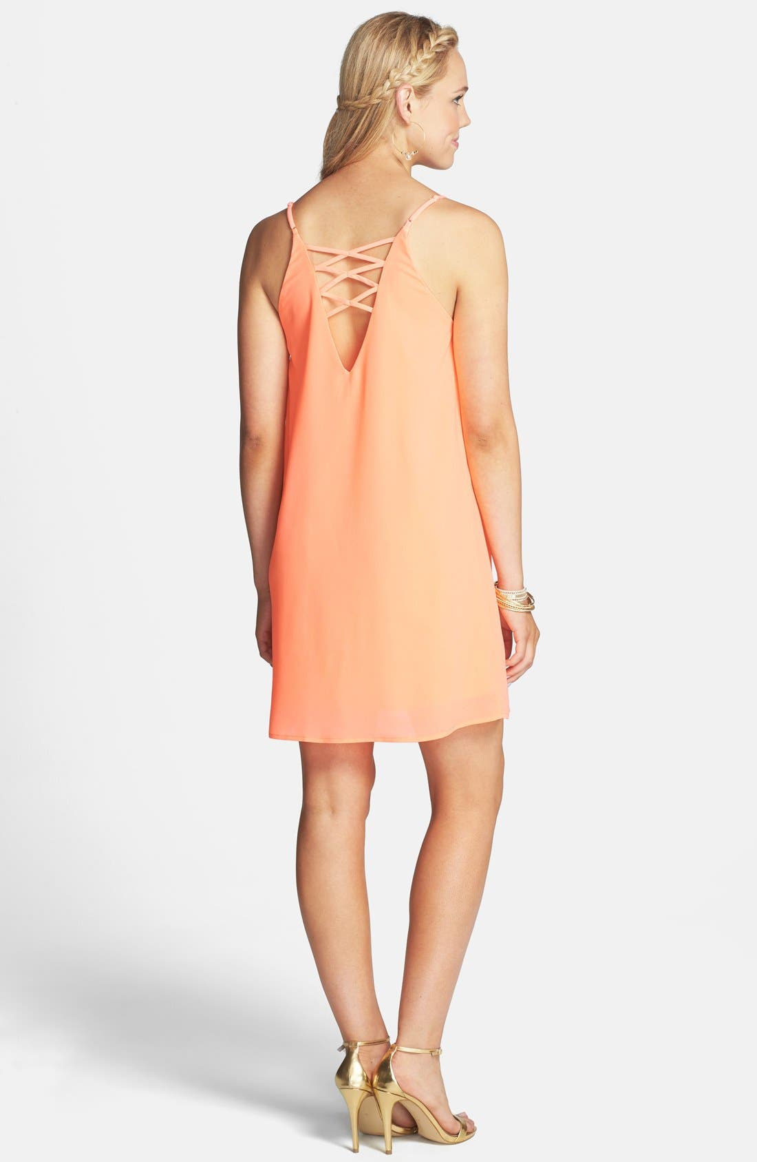 Alternate Image 2  - Everly Strappy Back Shift Dress (Juniors)